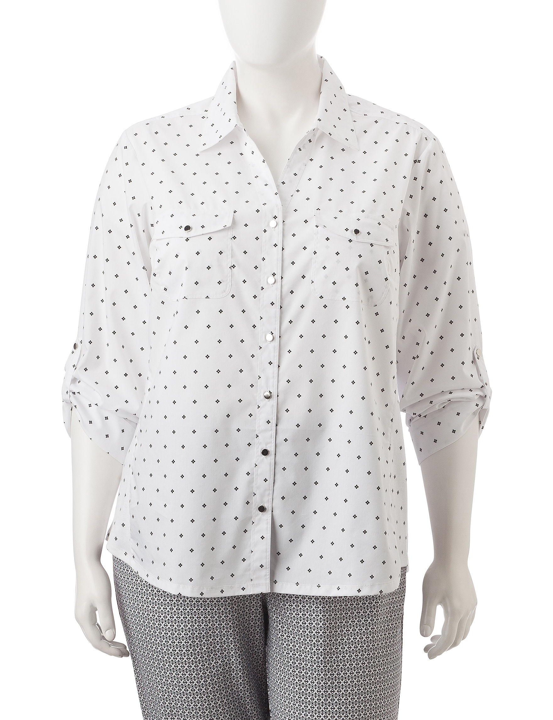 Cathy Daniels Black /  White Casual Button Down Shirts Shirts & Blouses