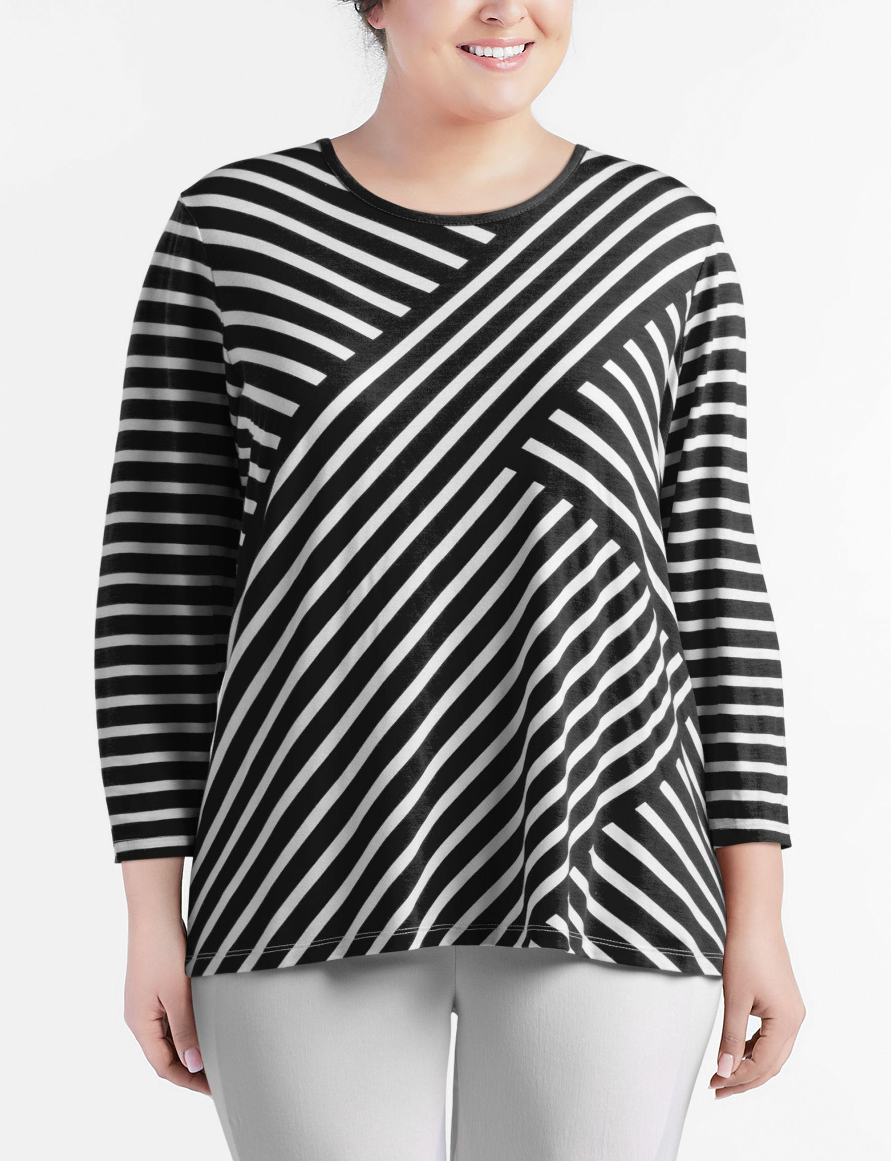 410756338e6 Rebecca Malone Plus-size Asymmetrical Striped Knit Top