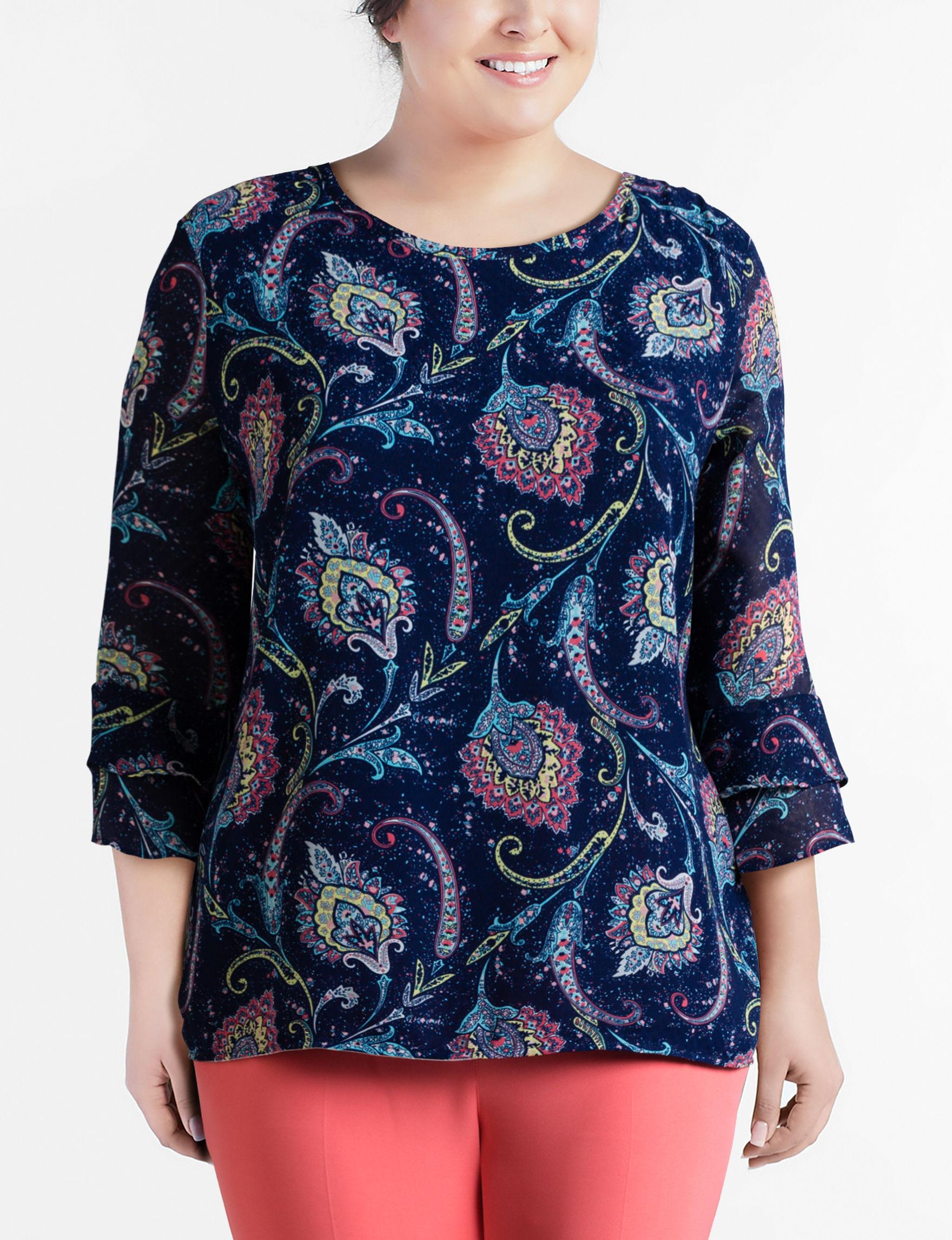 Valerie Stevens Blue Paisley Shirts & Blouses
