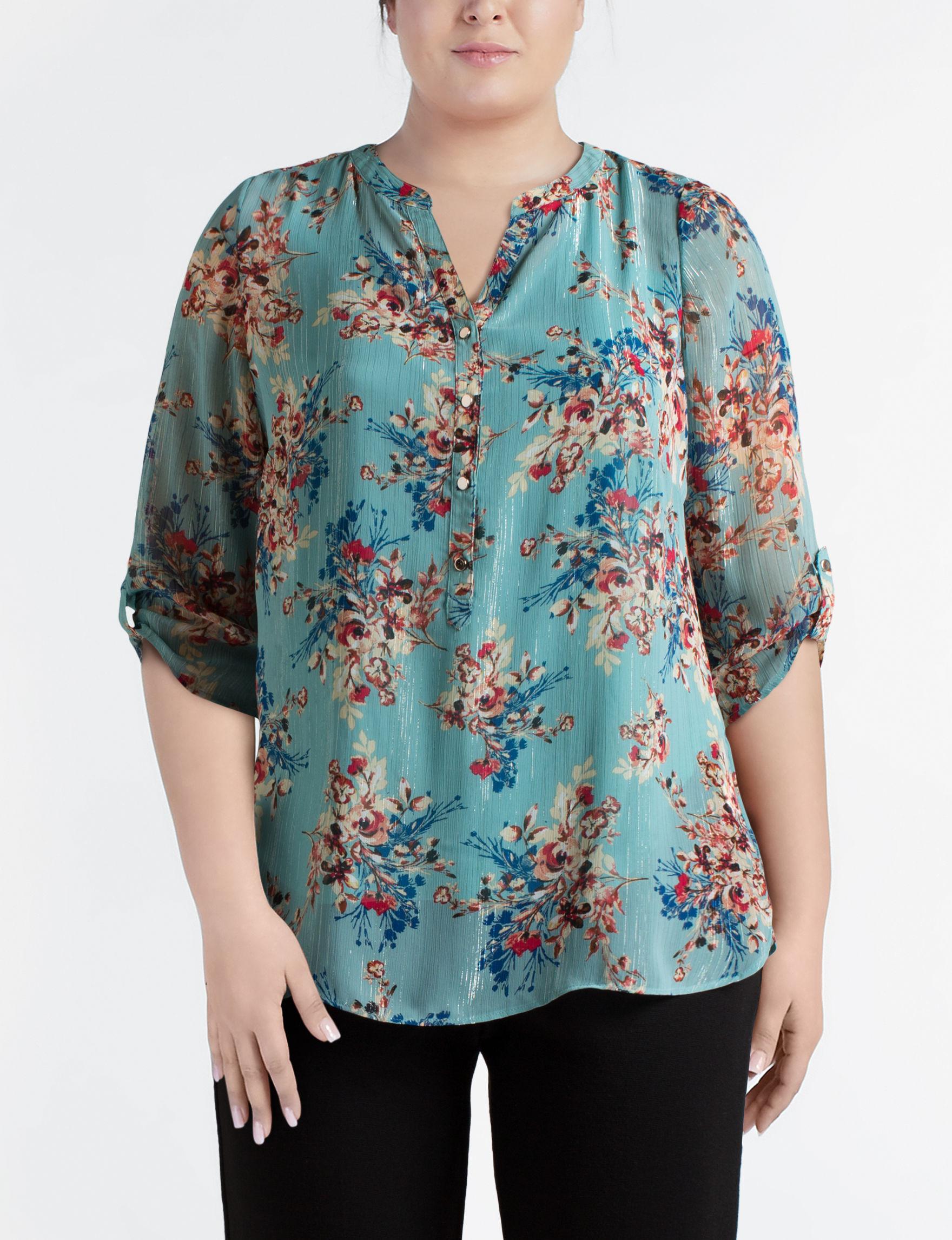 Sara Michelle Aqua Shirts & Blouses