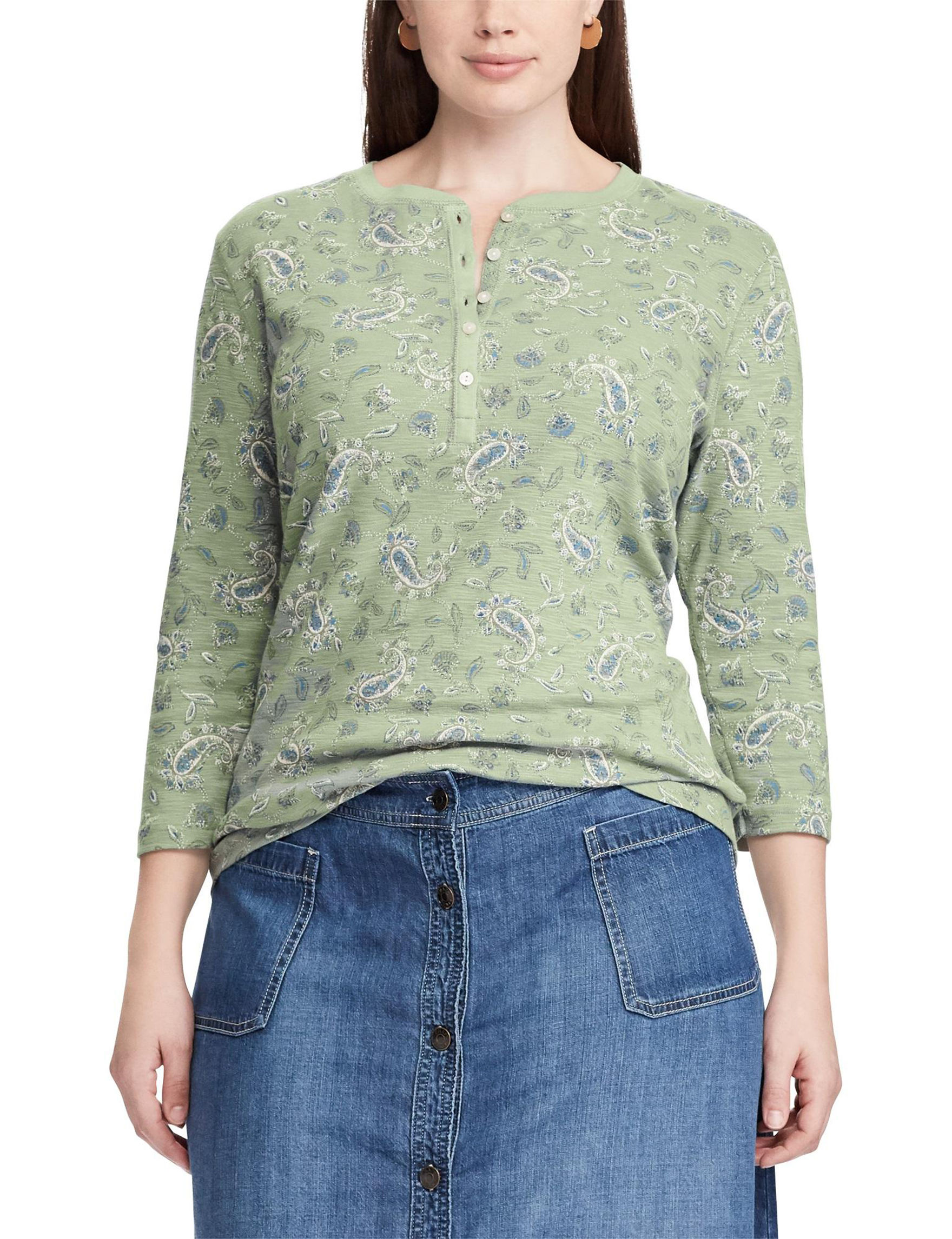 Chaps Green Multi Shirts & Blouses