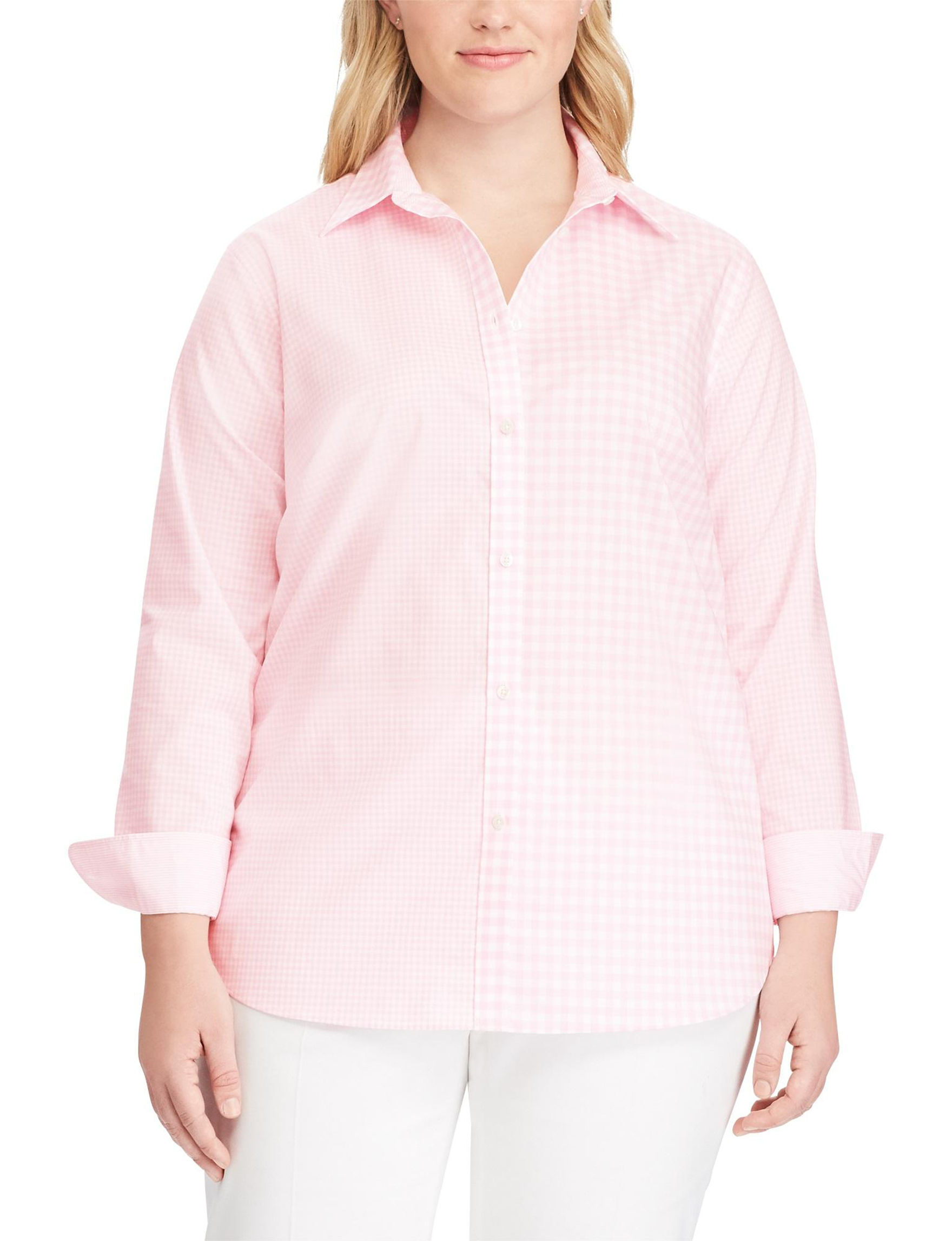 Chaps Pink / White Shirts & Blouses