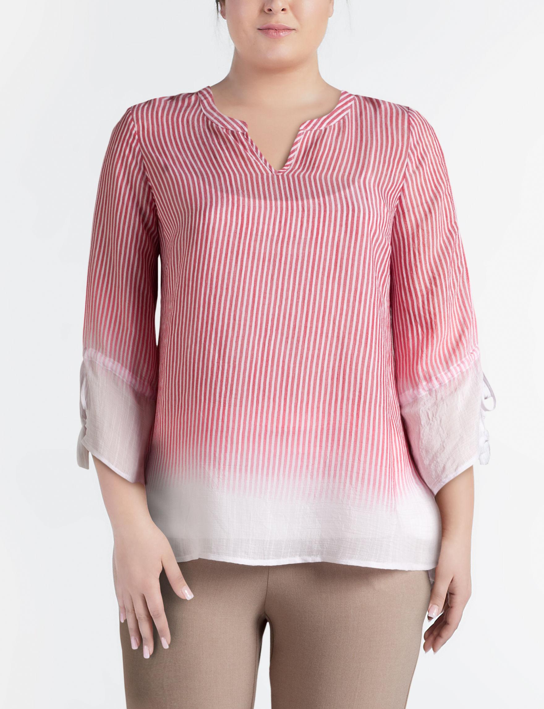 Zac & Rachel Red / White Shirts & Blouses