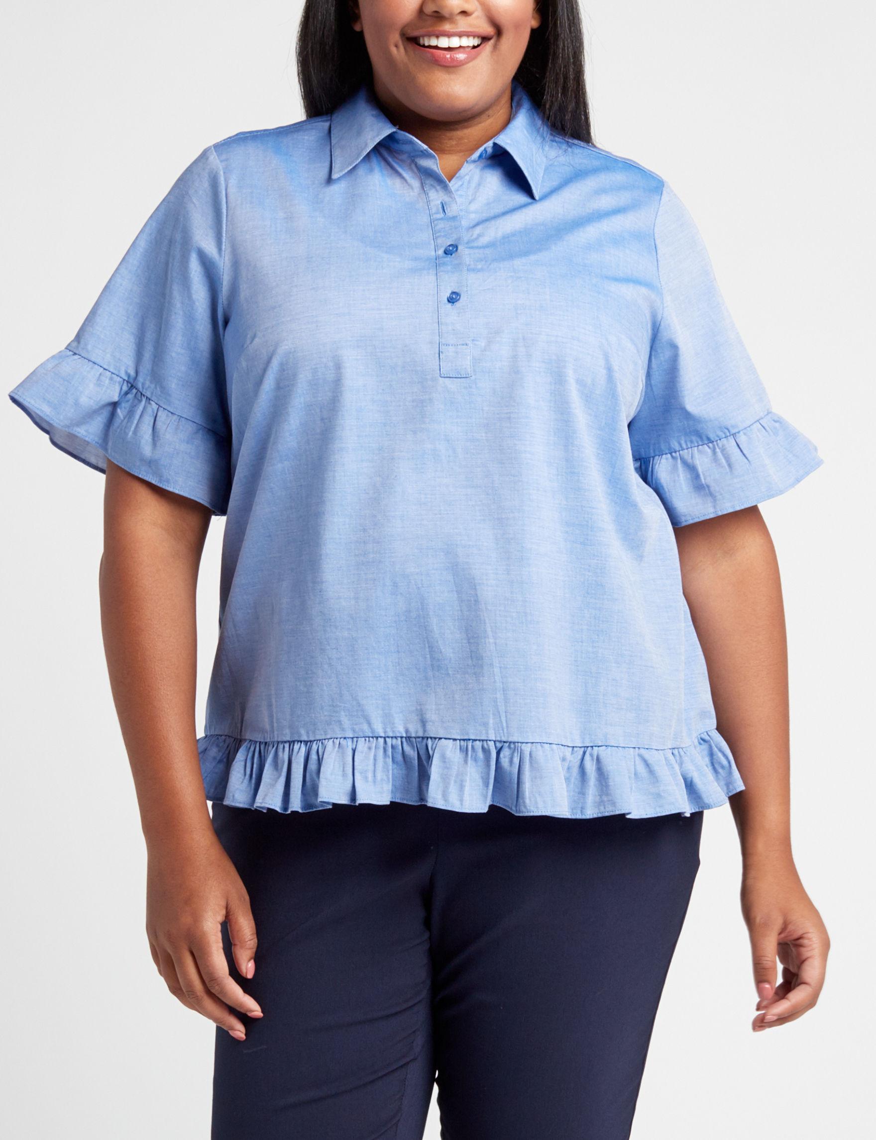 Hannah Powder Blue Shirts & Blouses