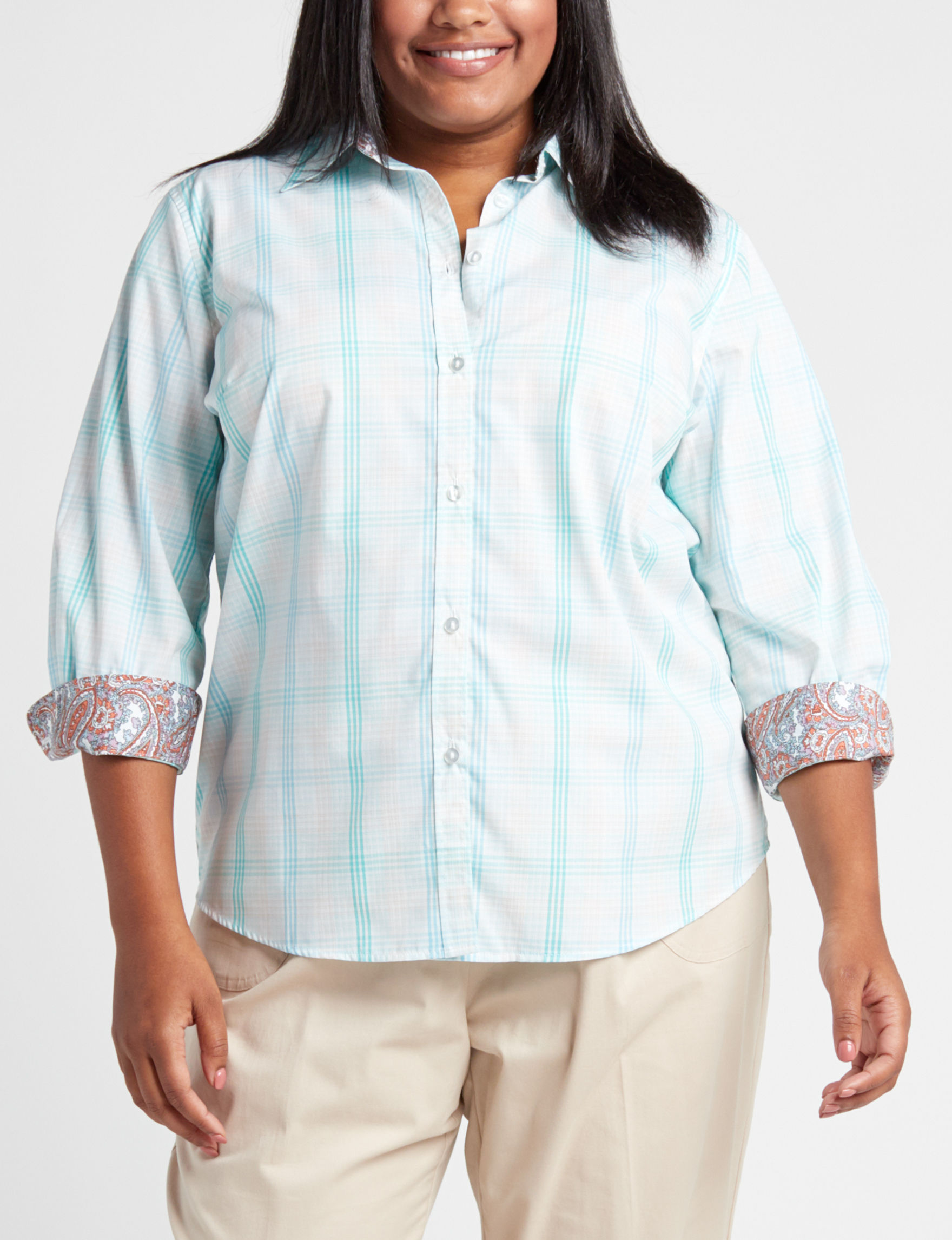 Rebecca Malone Blue Plaid Shirts & Blouses