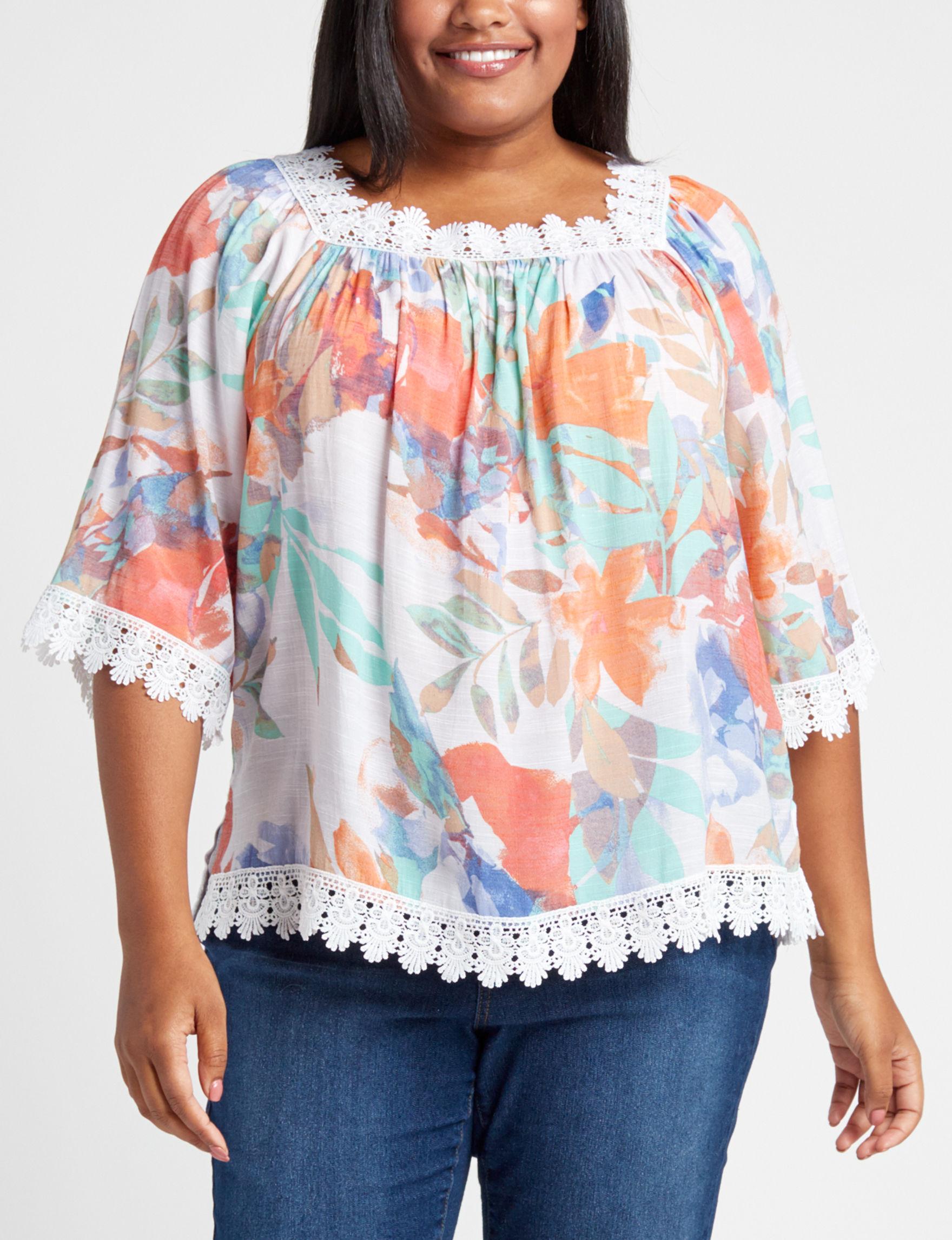 Zac & Rachel Orange Floral Shirts & Blouses