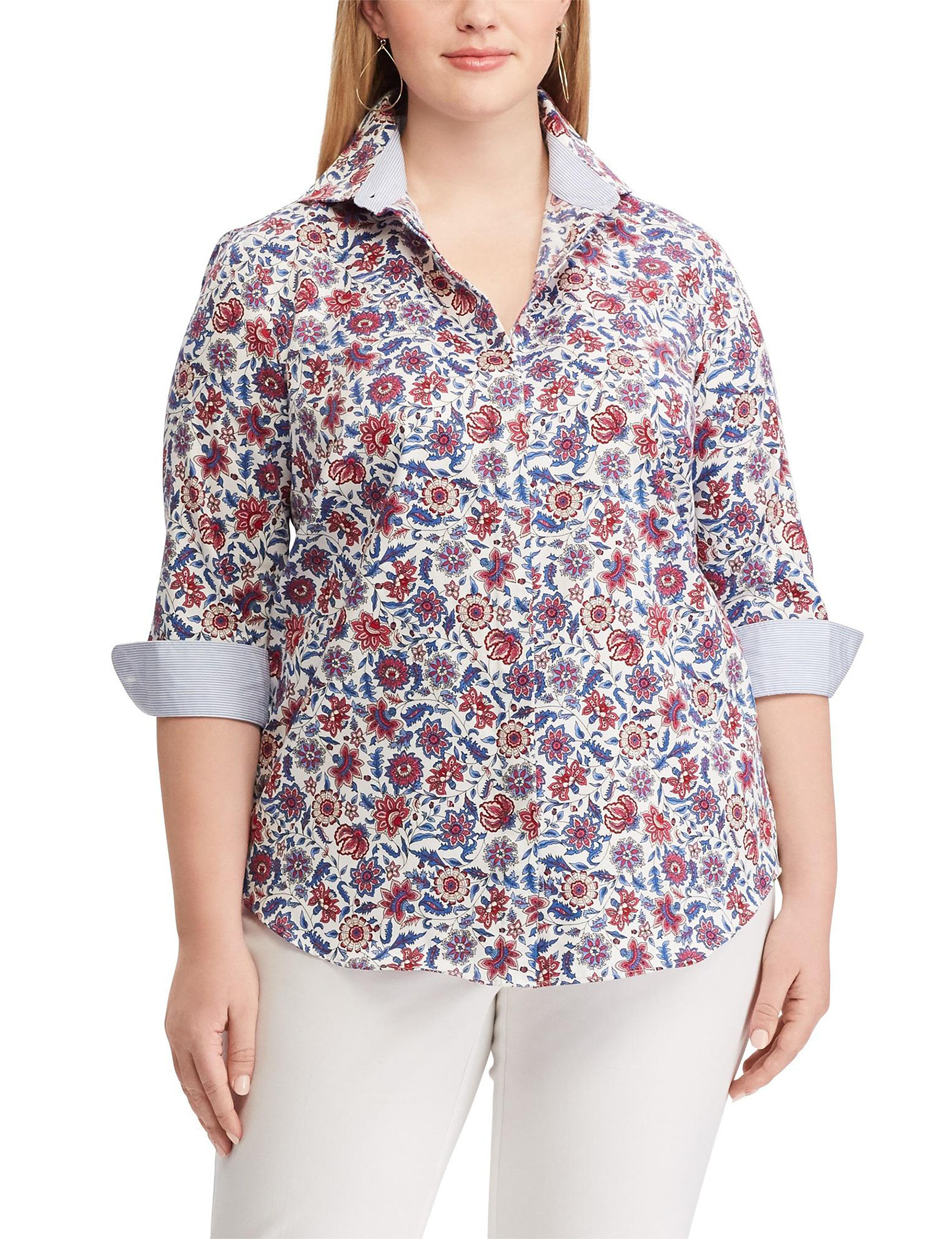 Chaps White Floral Shirts & Blouses