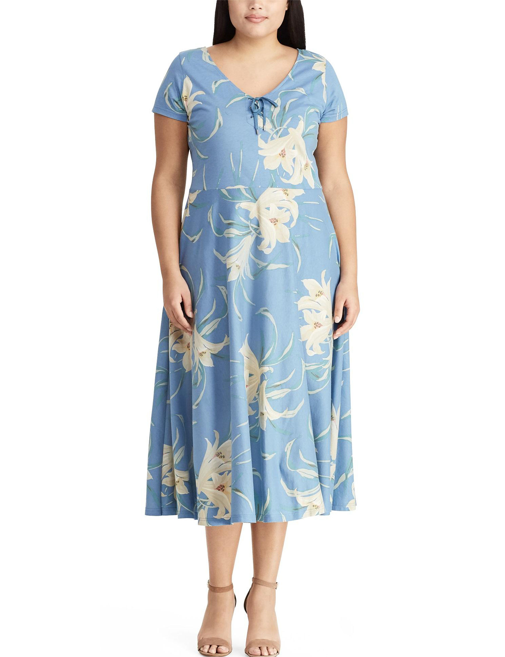 Chaps Blue Multi Everyday & Casual Fit & Flare Dresses
