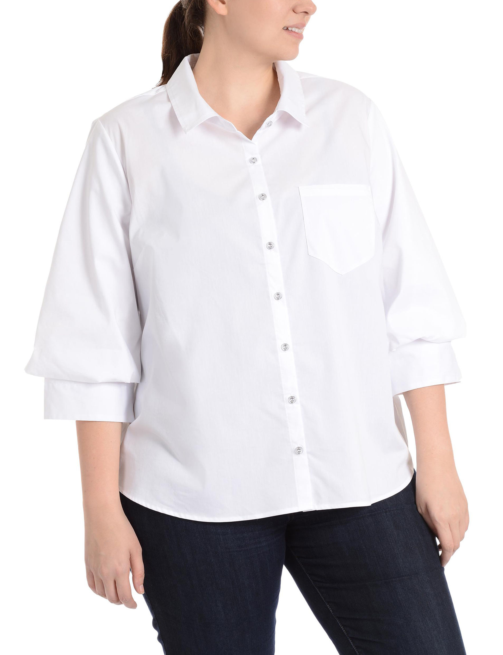 NY Collection White Shirts & Blouses