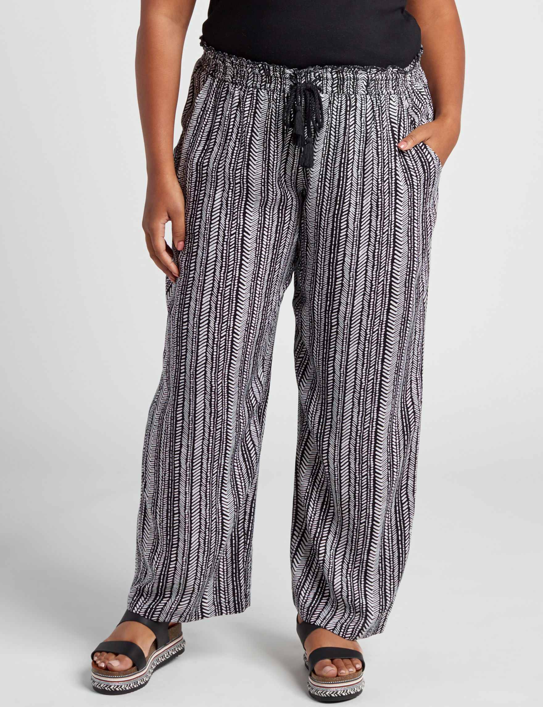 New Direction Black / White Soft Pants