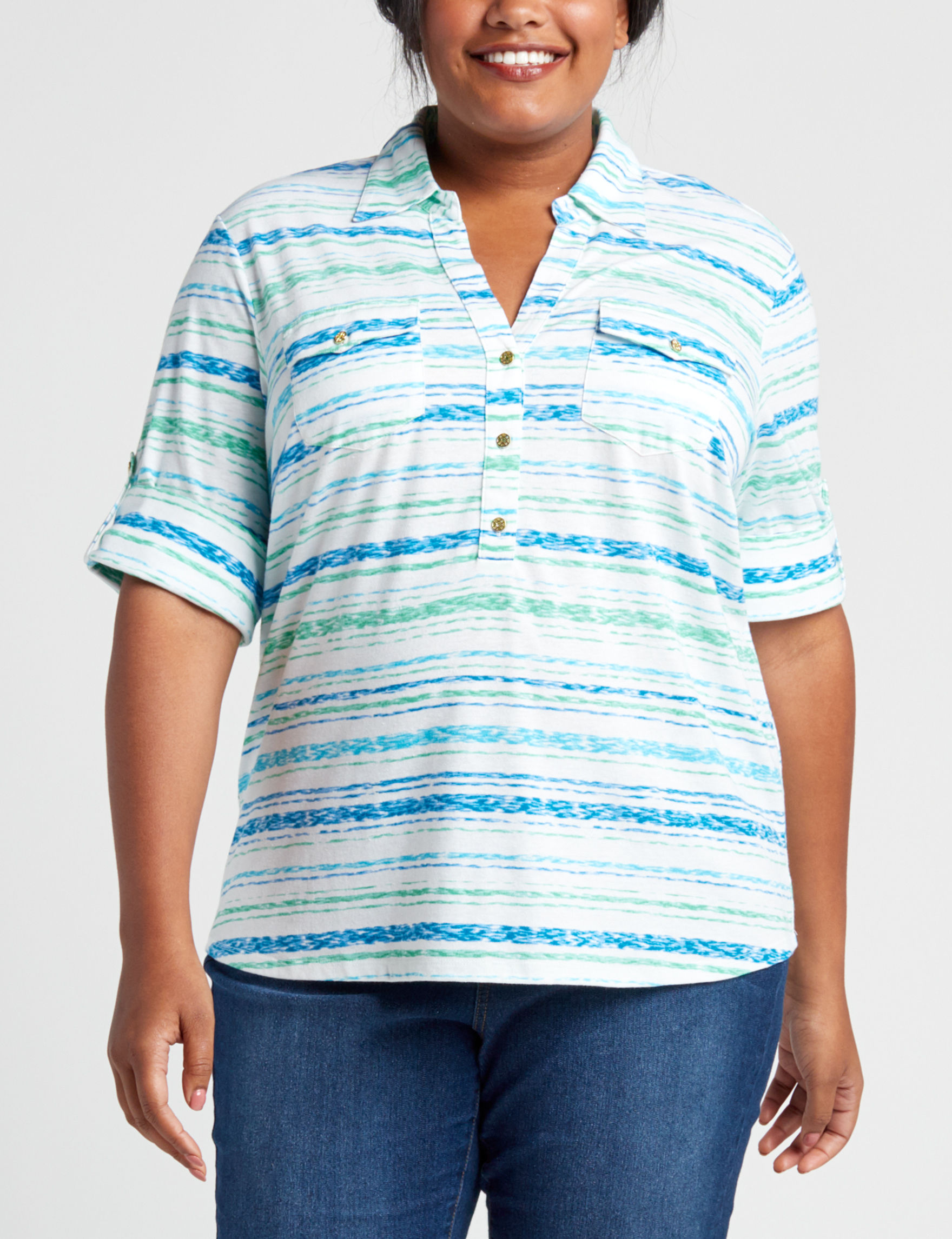 Cathy Daniels Blue Pull-overs Shirts & Blouses