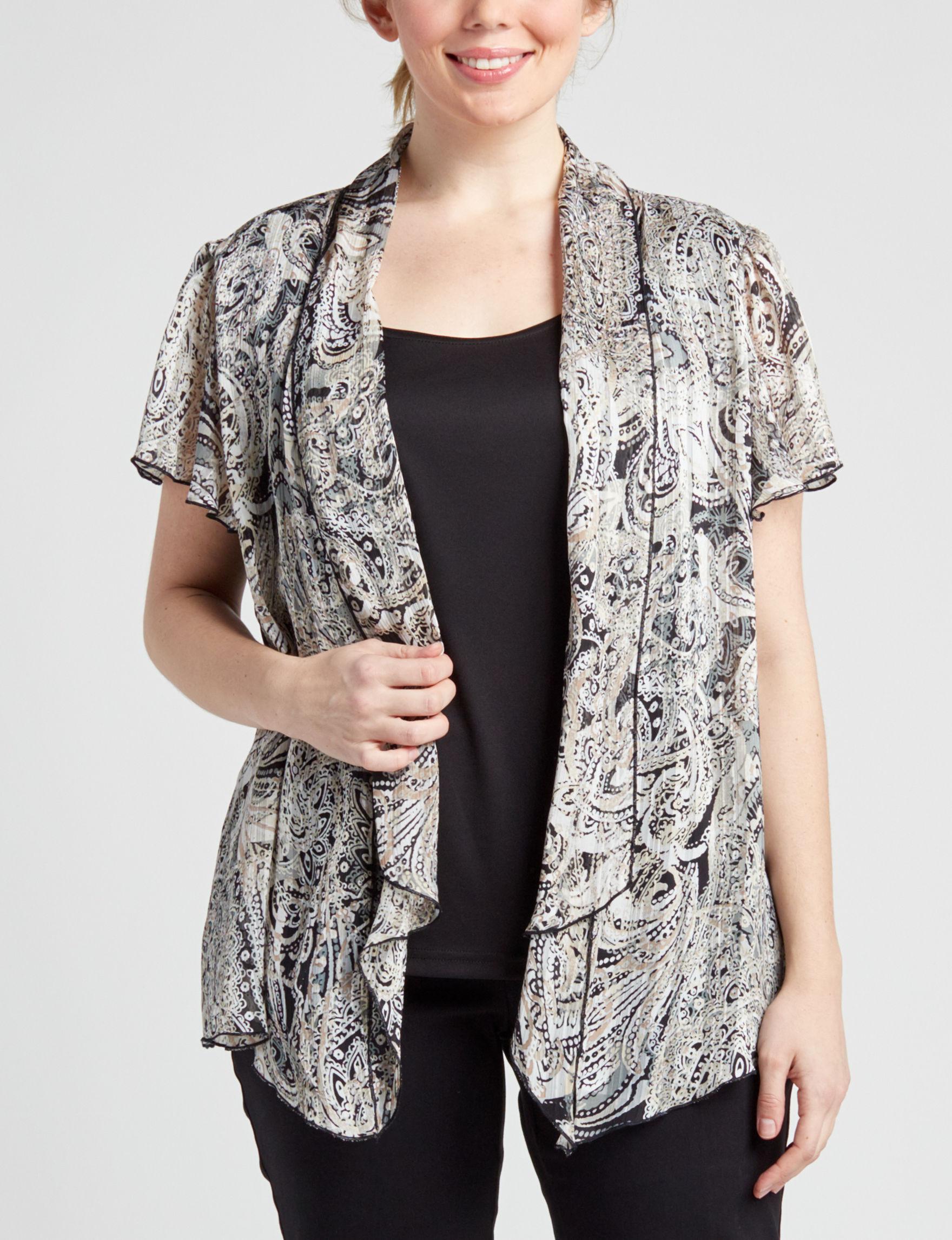 Sara Michelle Beige / Black Shirts & Blouses