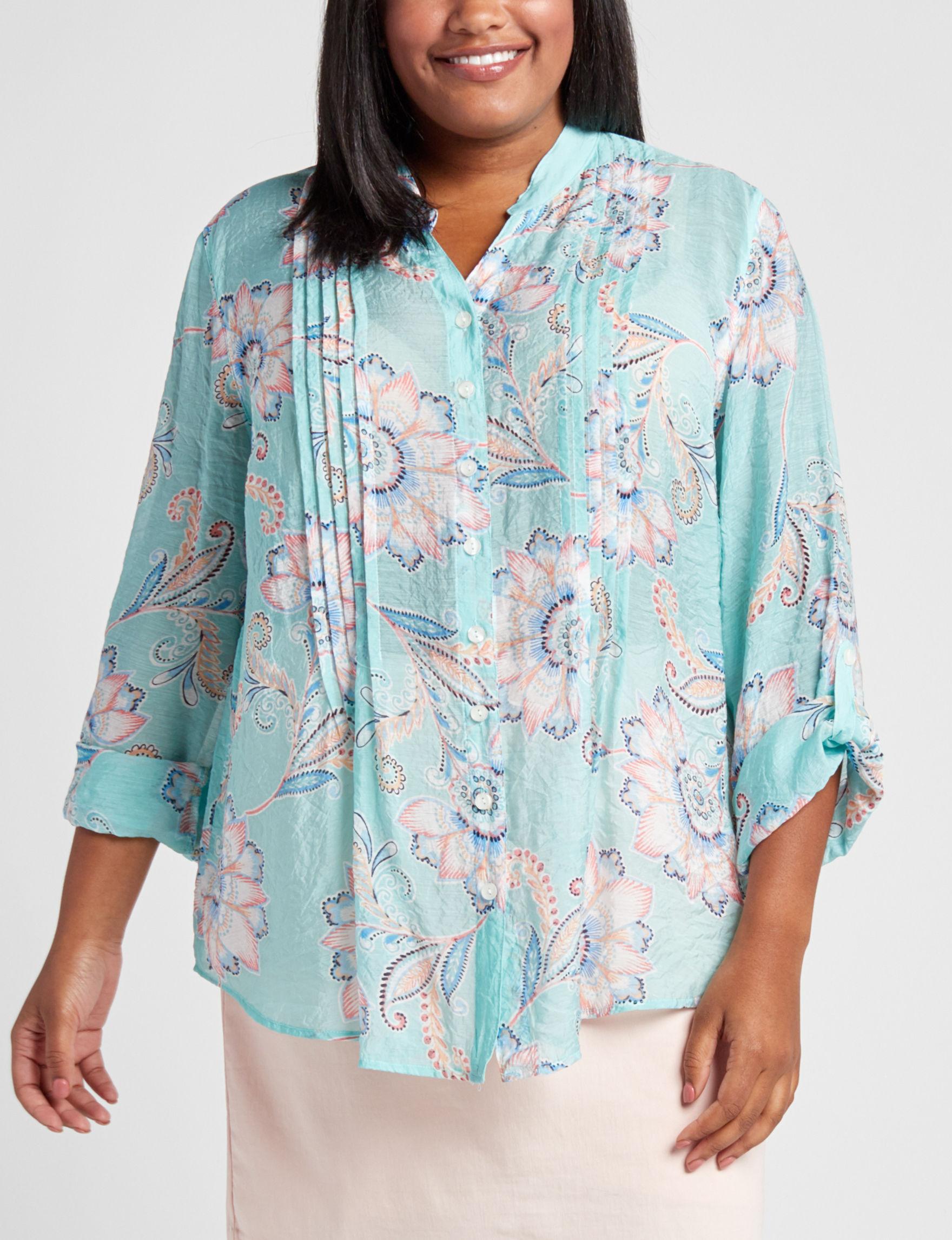 Ruby Road Aqua Multi Shirts & Blouses