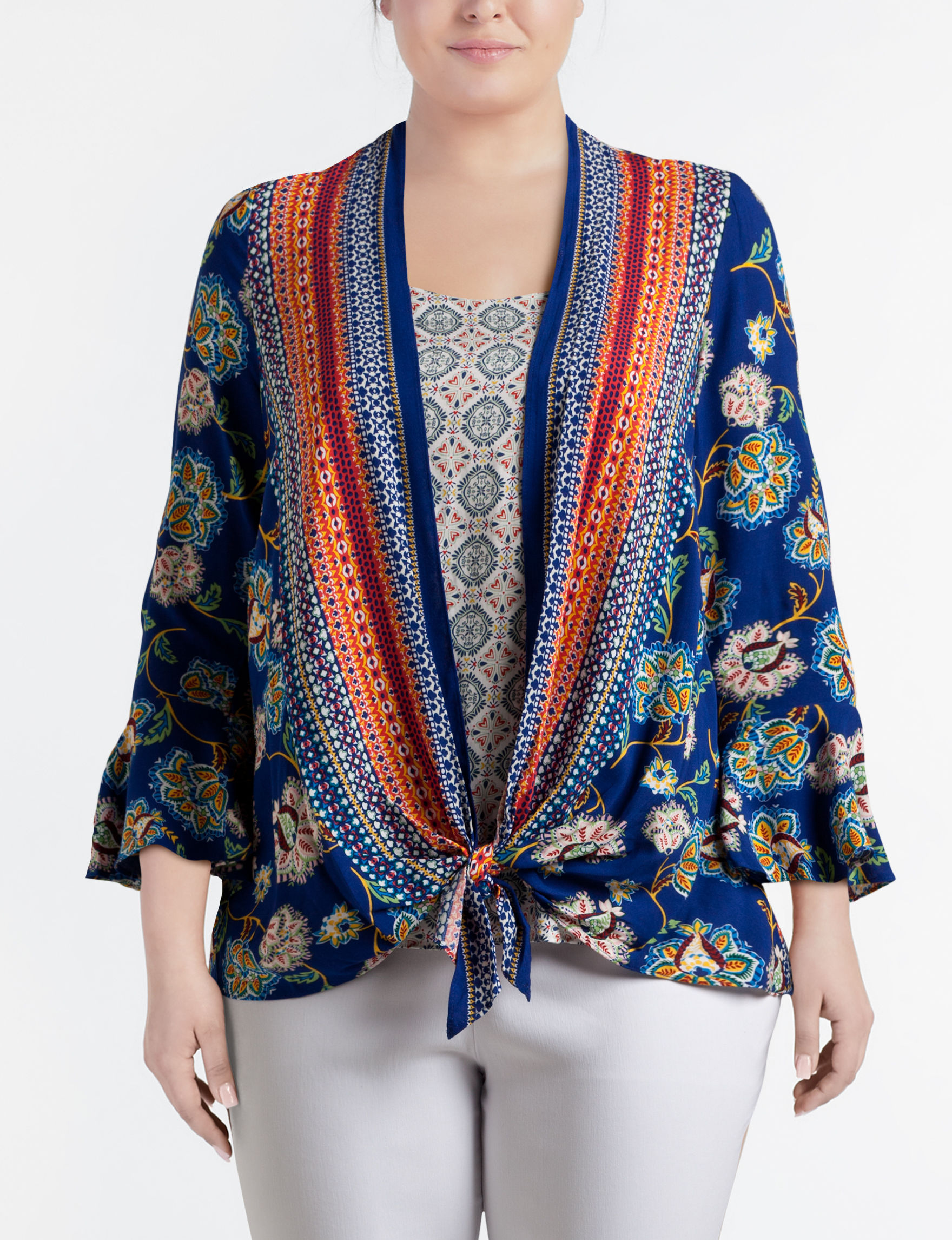 Figuero & Flower Blue Multi Shirts & Blouses