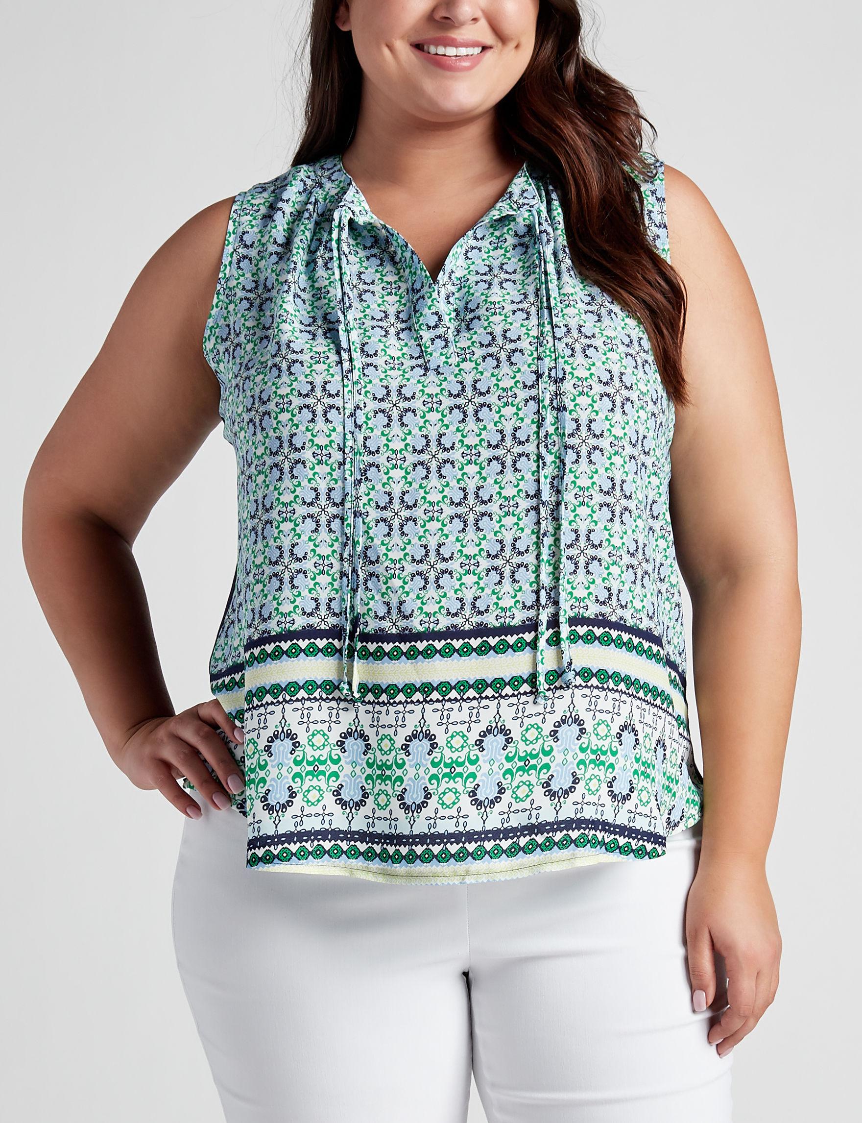 Zac & Rachel Blue Multi Shirts & Blouses Tees & Tanks