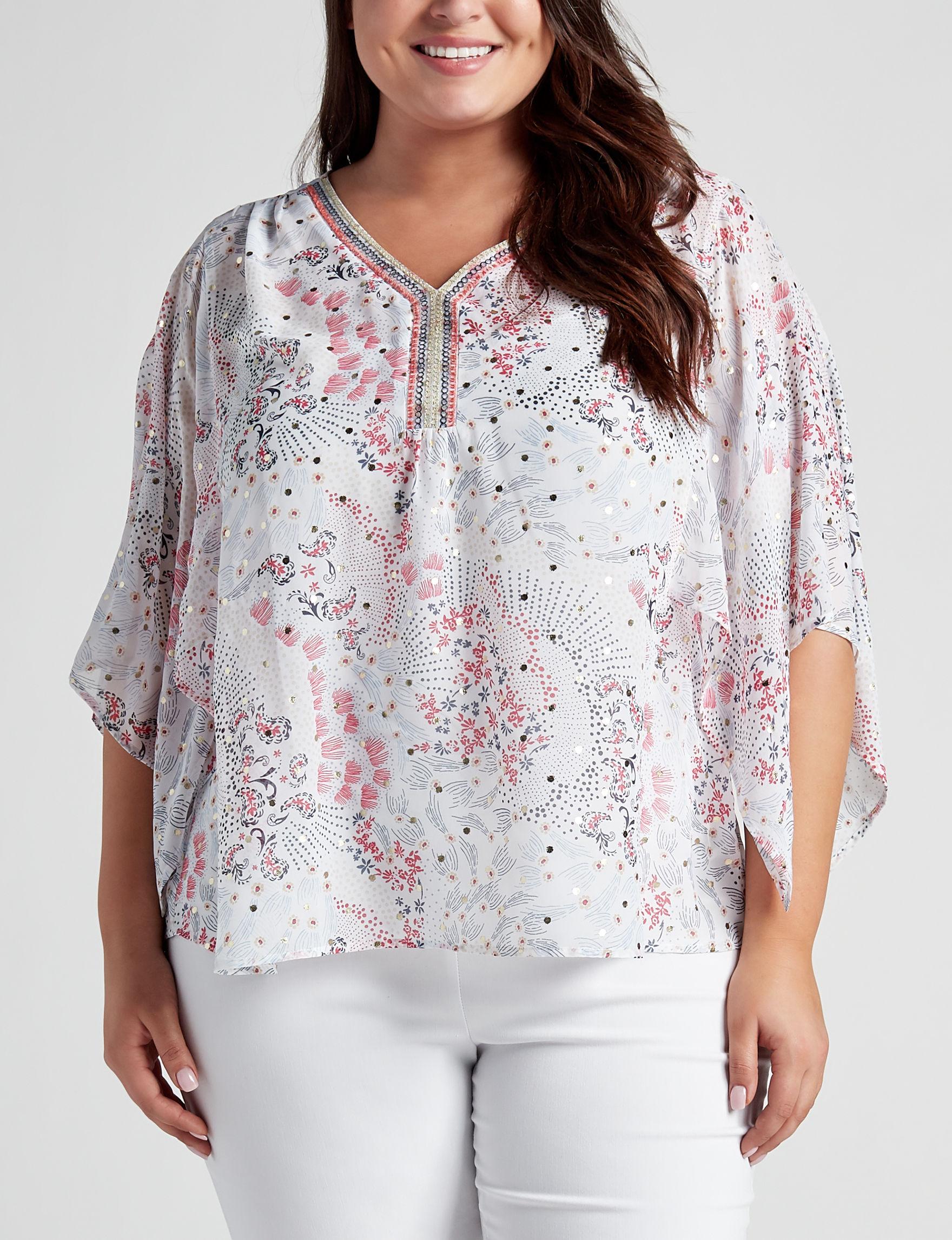 Valerie Stevens White Multi Shirts & Blouses