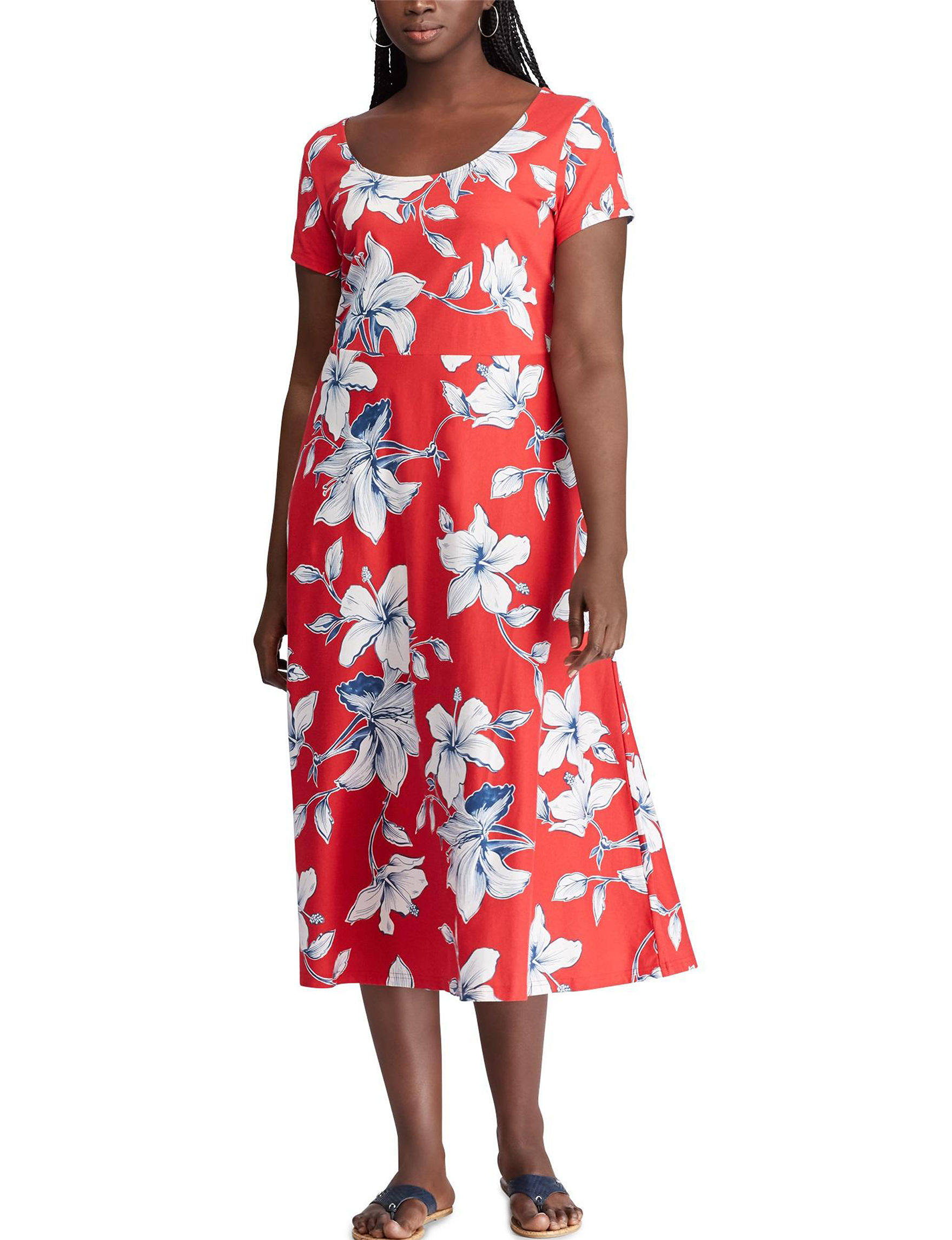 Chaps Plus Size Tropical Floral Fit Flare Dress Stage Stores