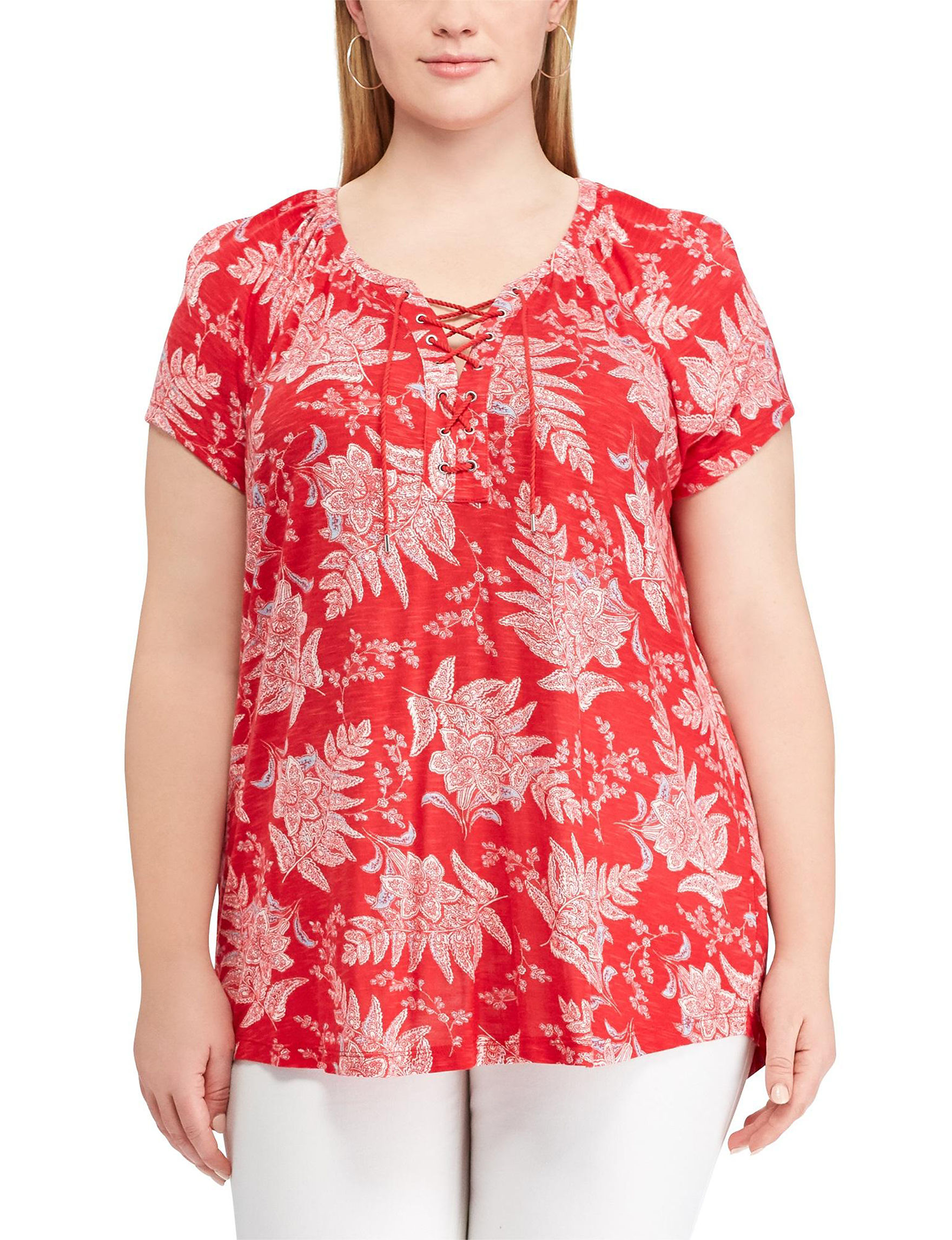Chaps Red Multi Shirts & Blouses
