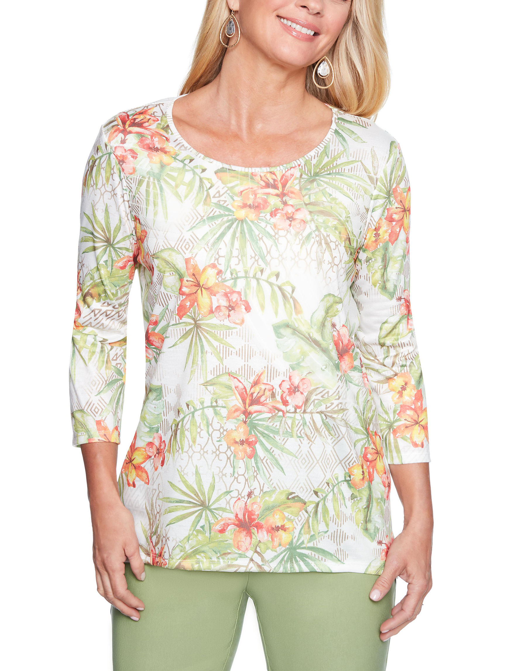 Alfred Dunner Ivory Multi Shirts & Blouses