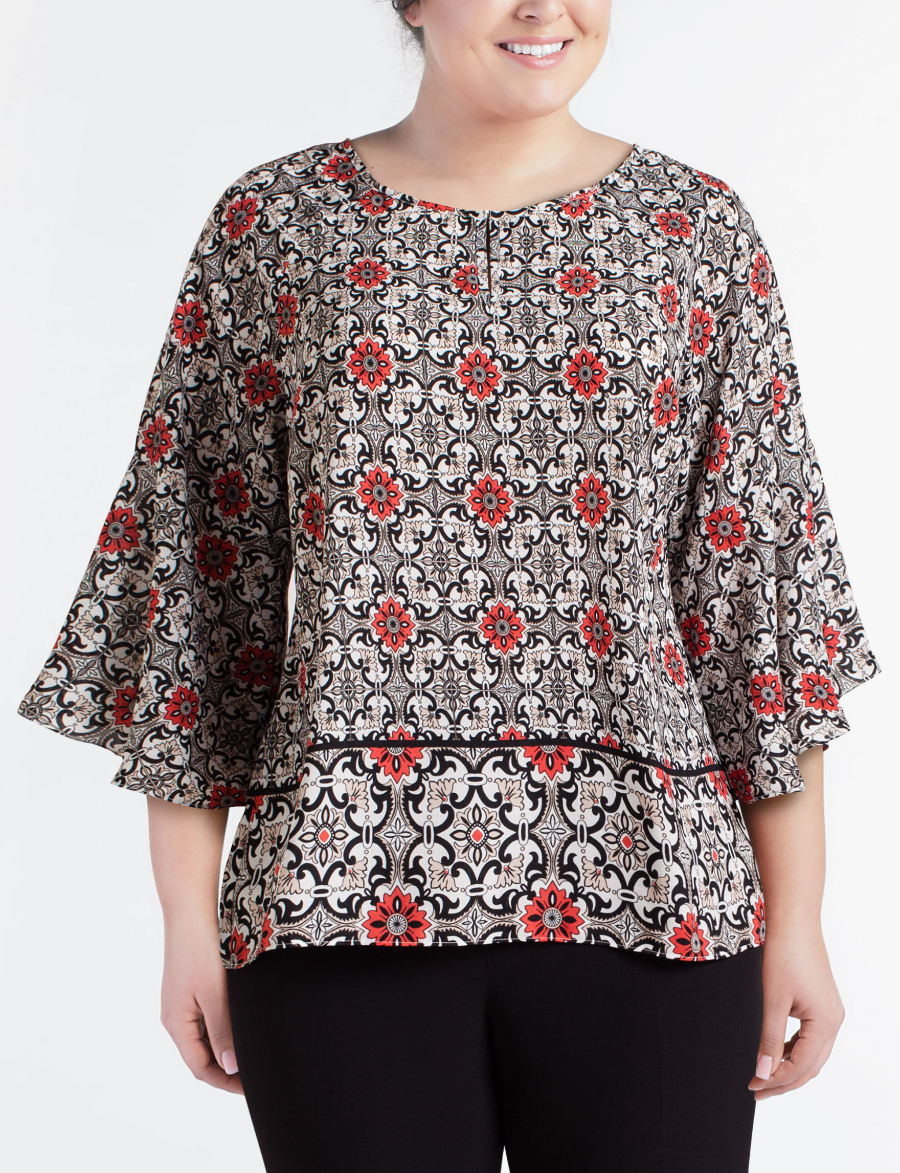 9c9a8a0a171 Zac   Rachel Plus-size Bell Sleeve Top