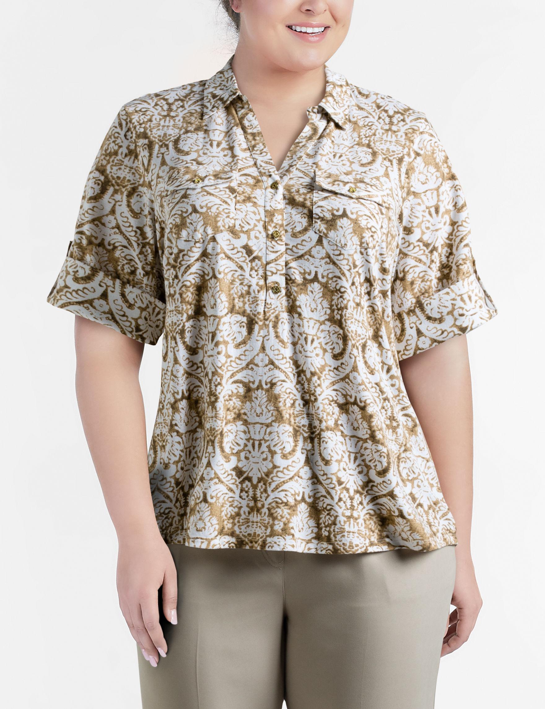 Rebecca Malone Brown Multi Shirts & Blouses
