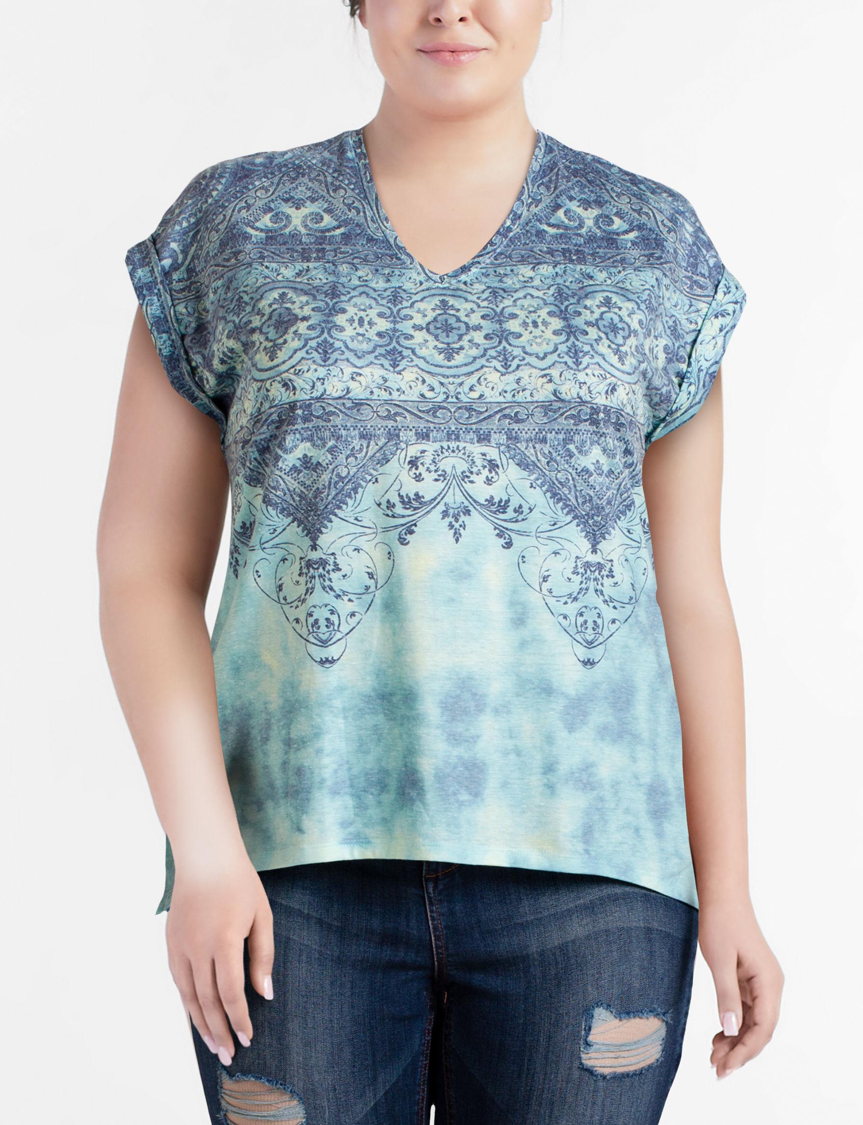 Hannah Aqua Multi Shirts & Blouses