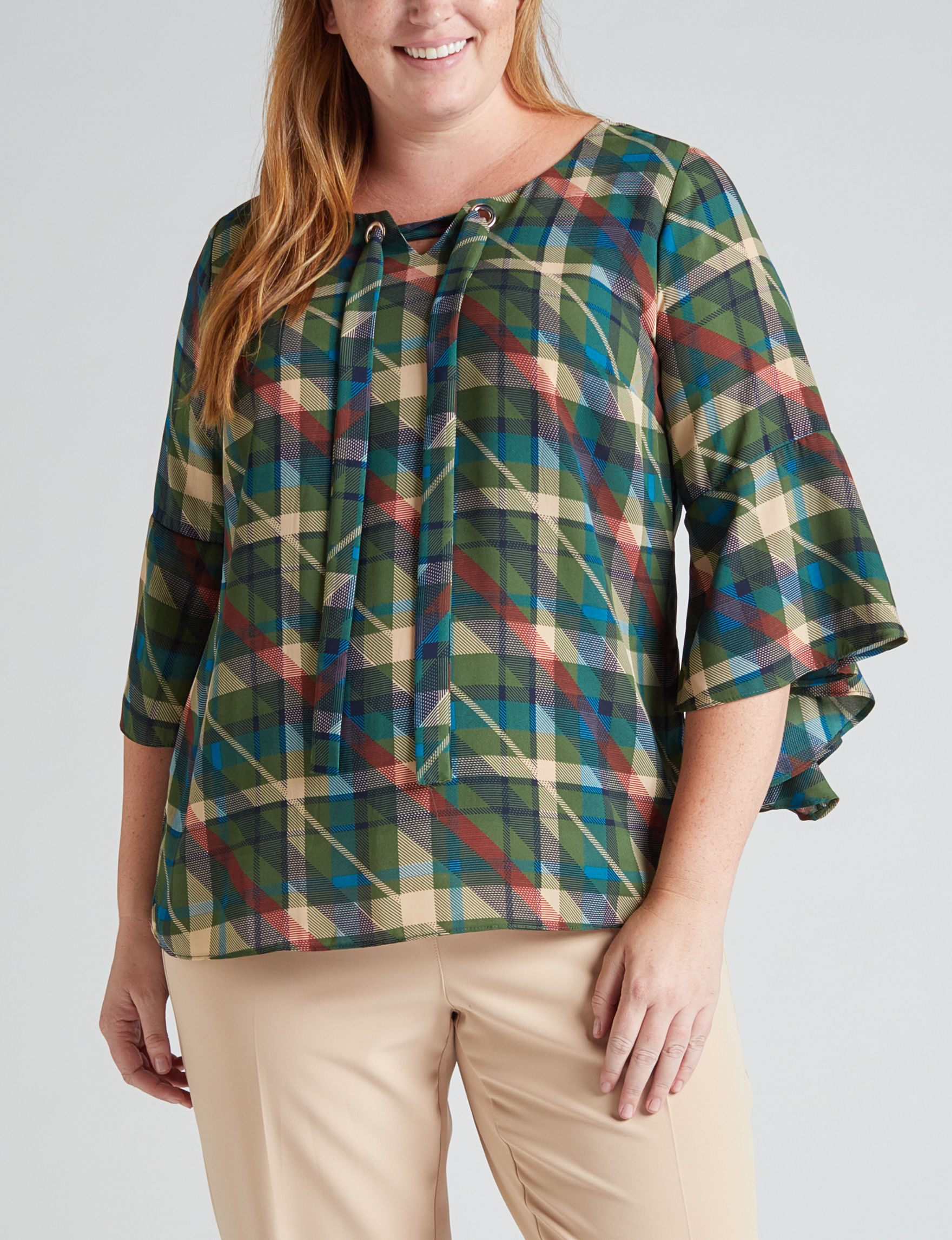 NY Collection Green Multi Shirts & Blouses