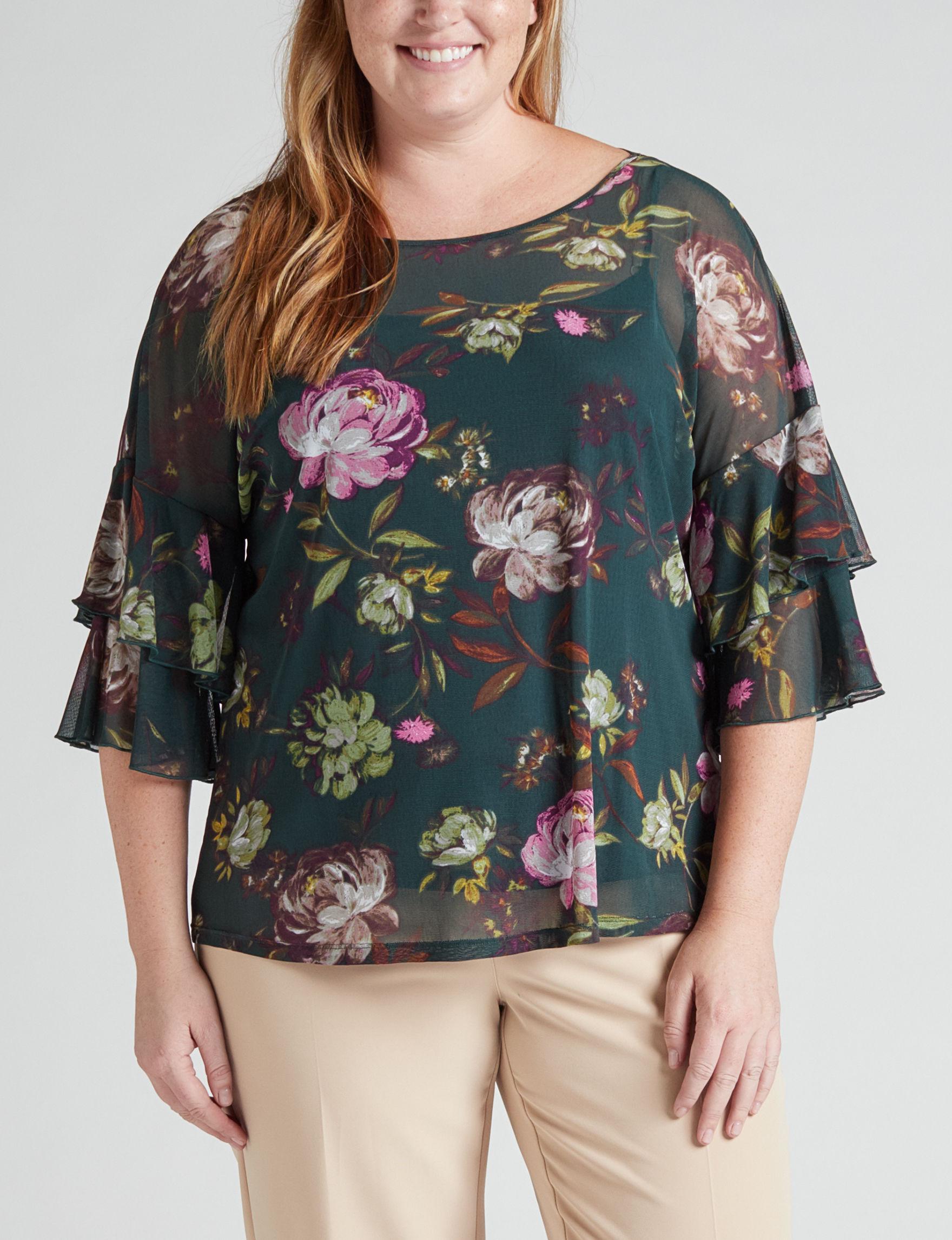 Zac & Rachel Green Floral Shirts & Blouses
