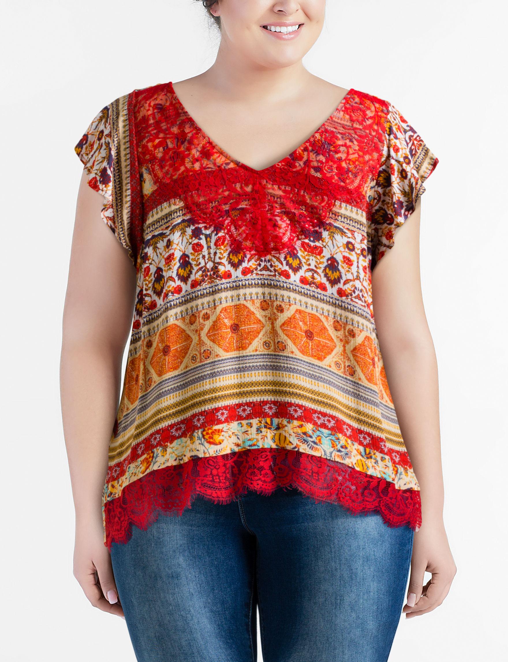 Latitude 10 Orange Multi Shirts & Blouses