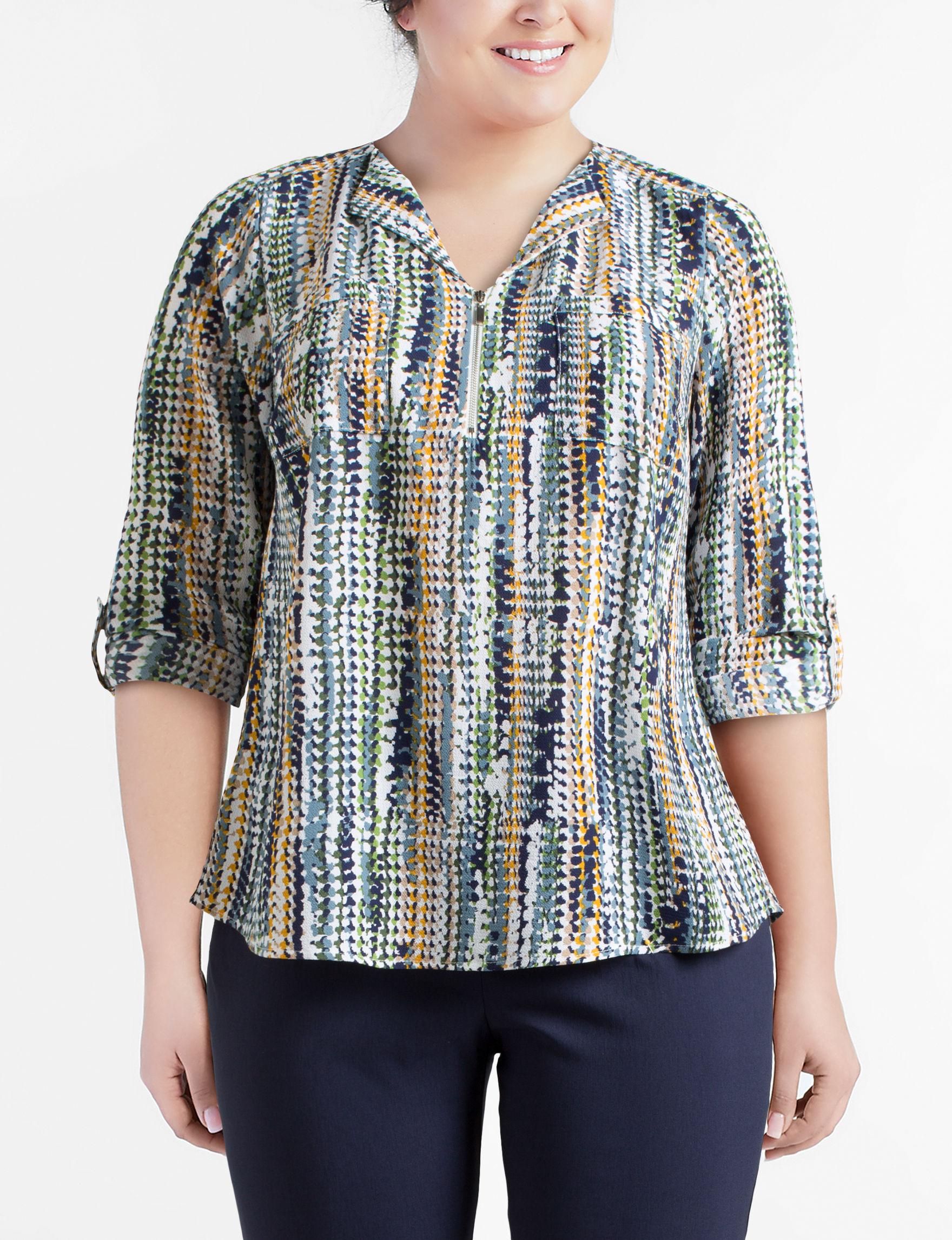 Valerie Stevens Grey Multi Shirts & Blouses