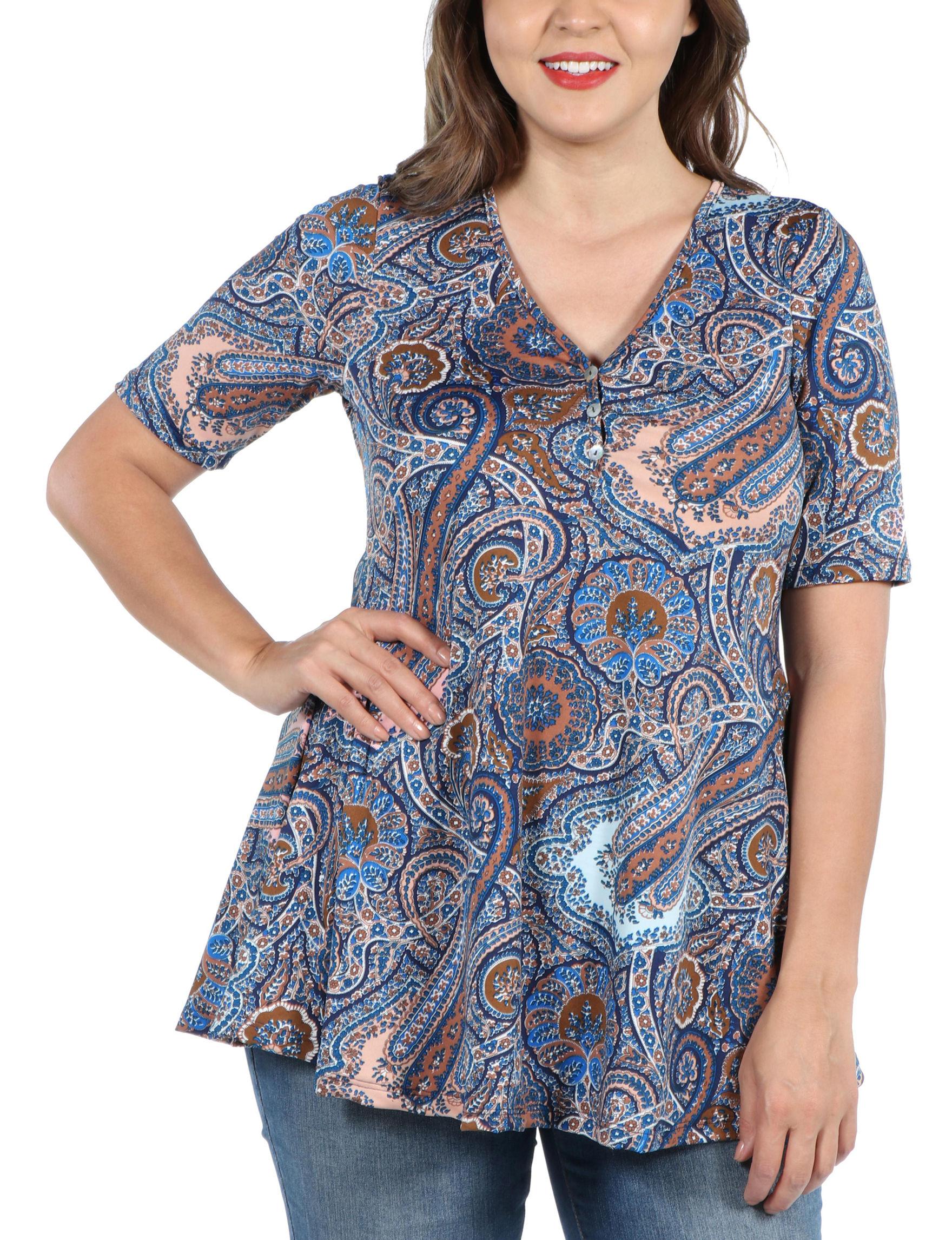 24Seven Comfort Apparel Blue / Multi Tunics