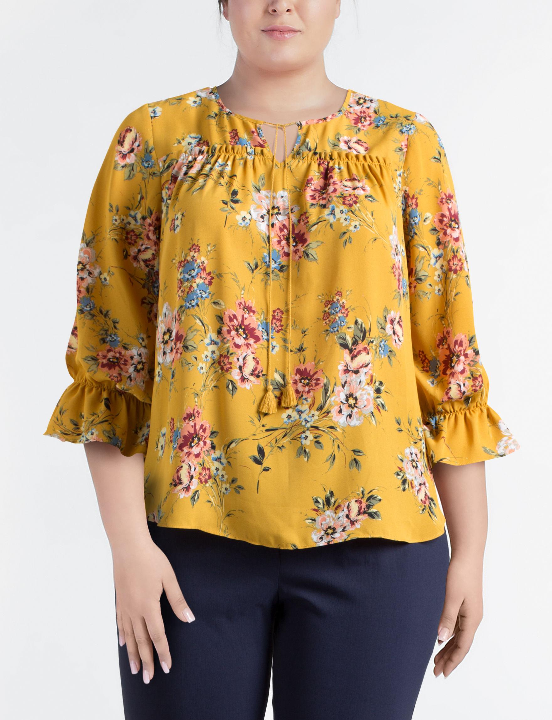 Valerie Stevens Yellow Multi Shirts & Blouses