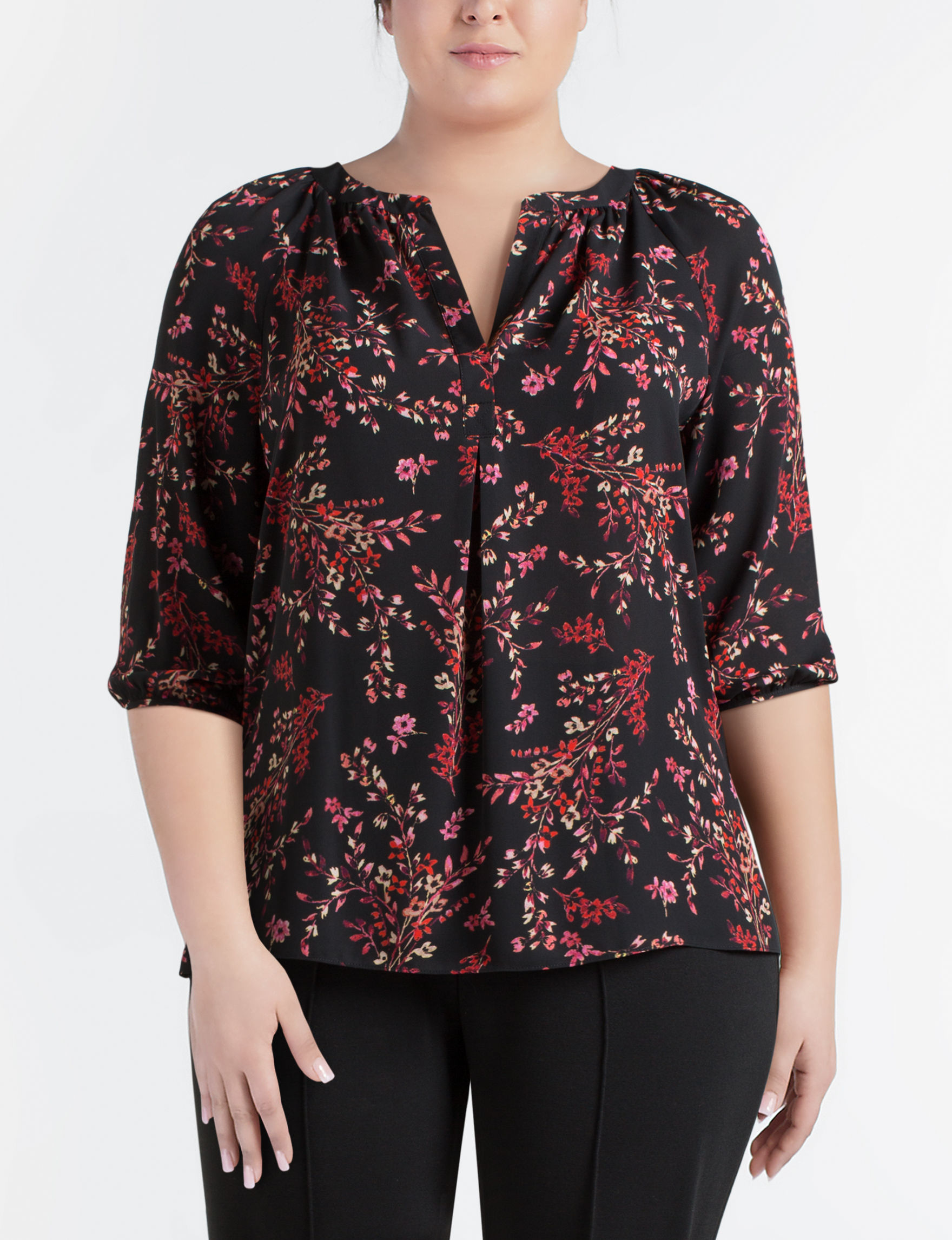 Zac & Rachel Black Multi Shirts & Blouses