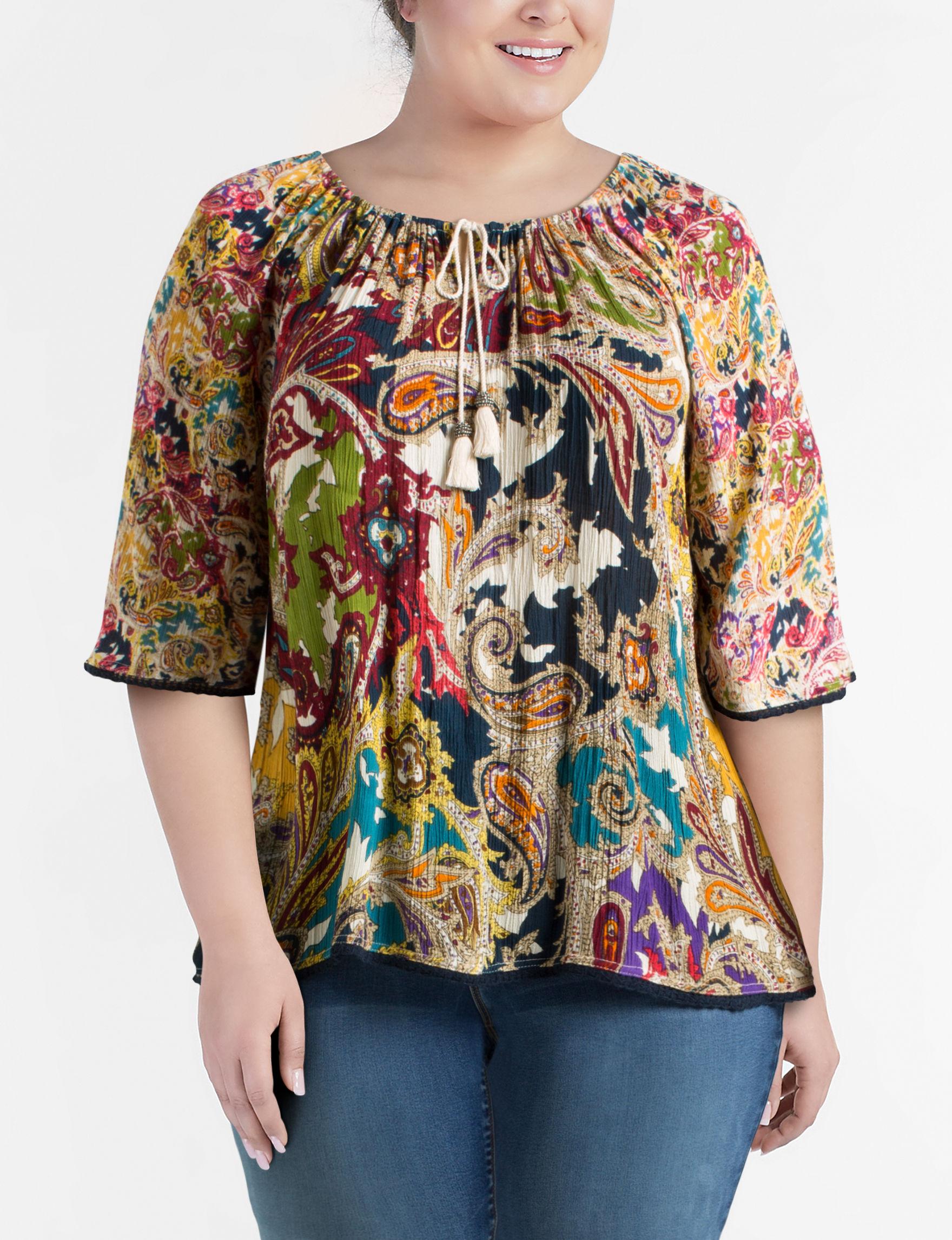 Hannah Yellow Multi Shirts & Blouses