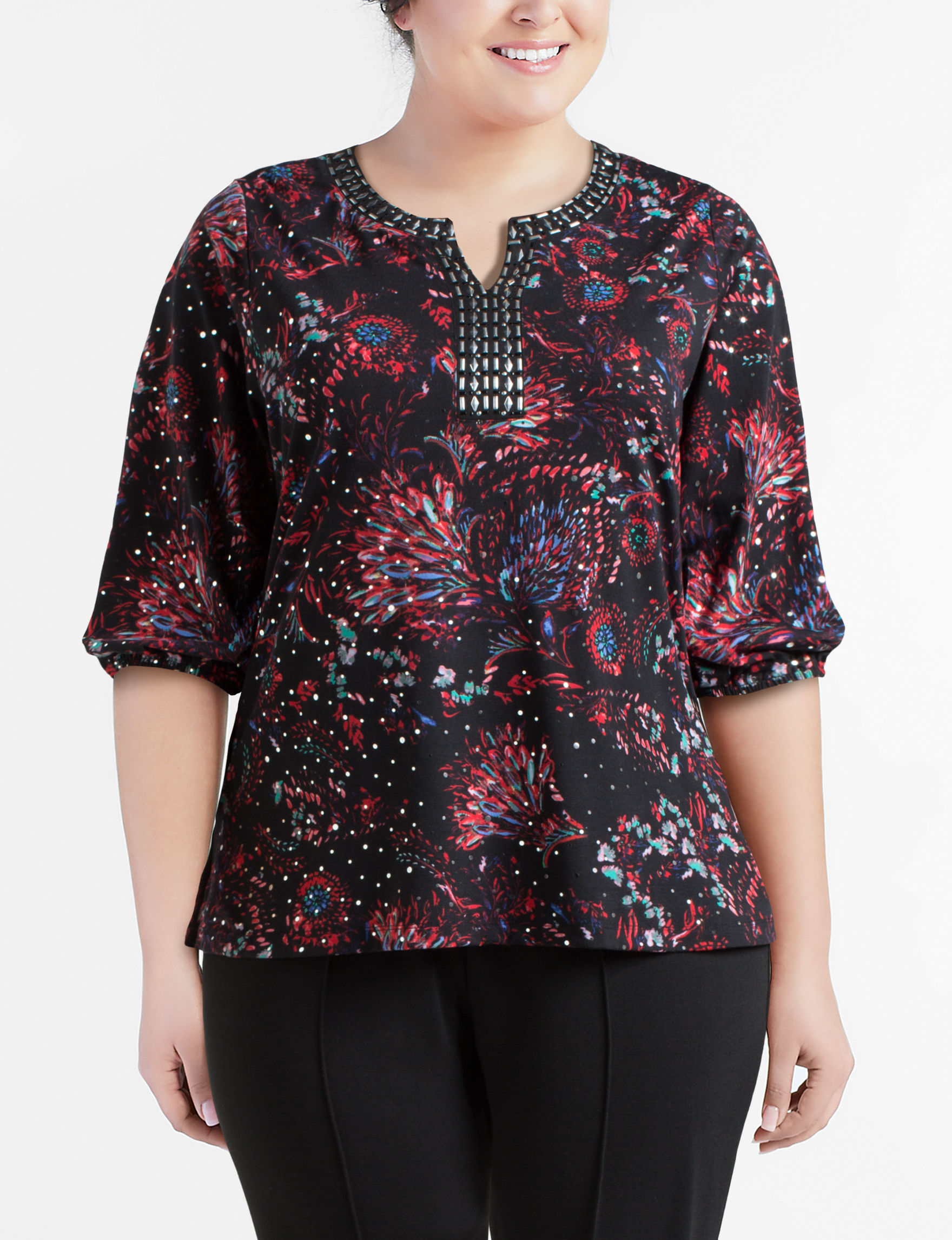 50d5f6f66cf Rebecca Malone Plus-size Embellished Abstract Floral Knit Top ...