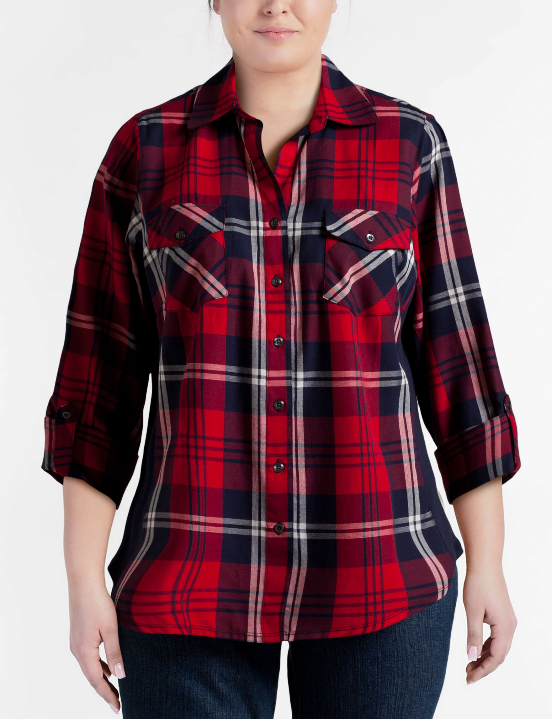 Zac & Rachel Red Plaid Shirts & Blouses