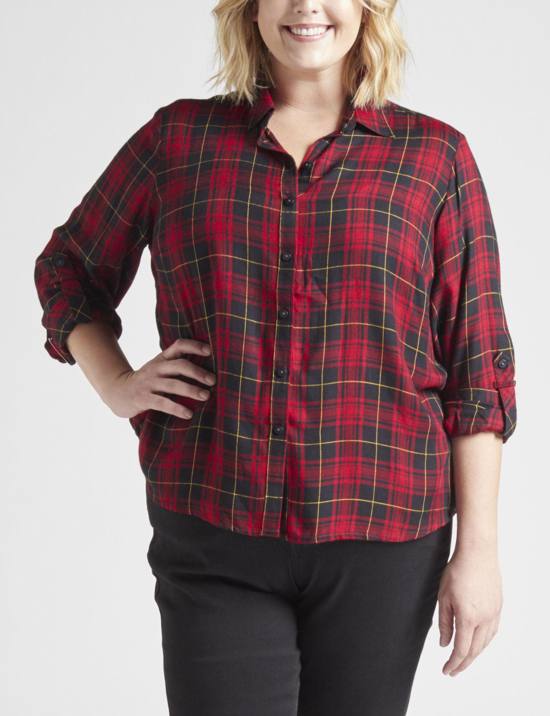 Hannah Red / Black Shirts & Blouses