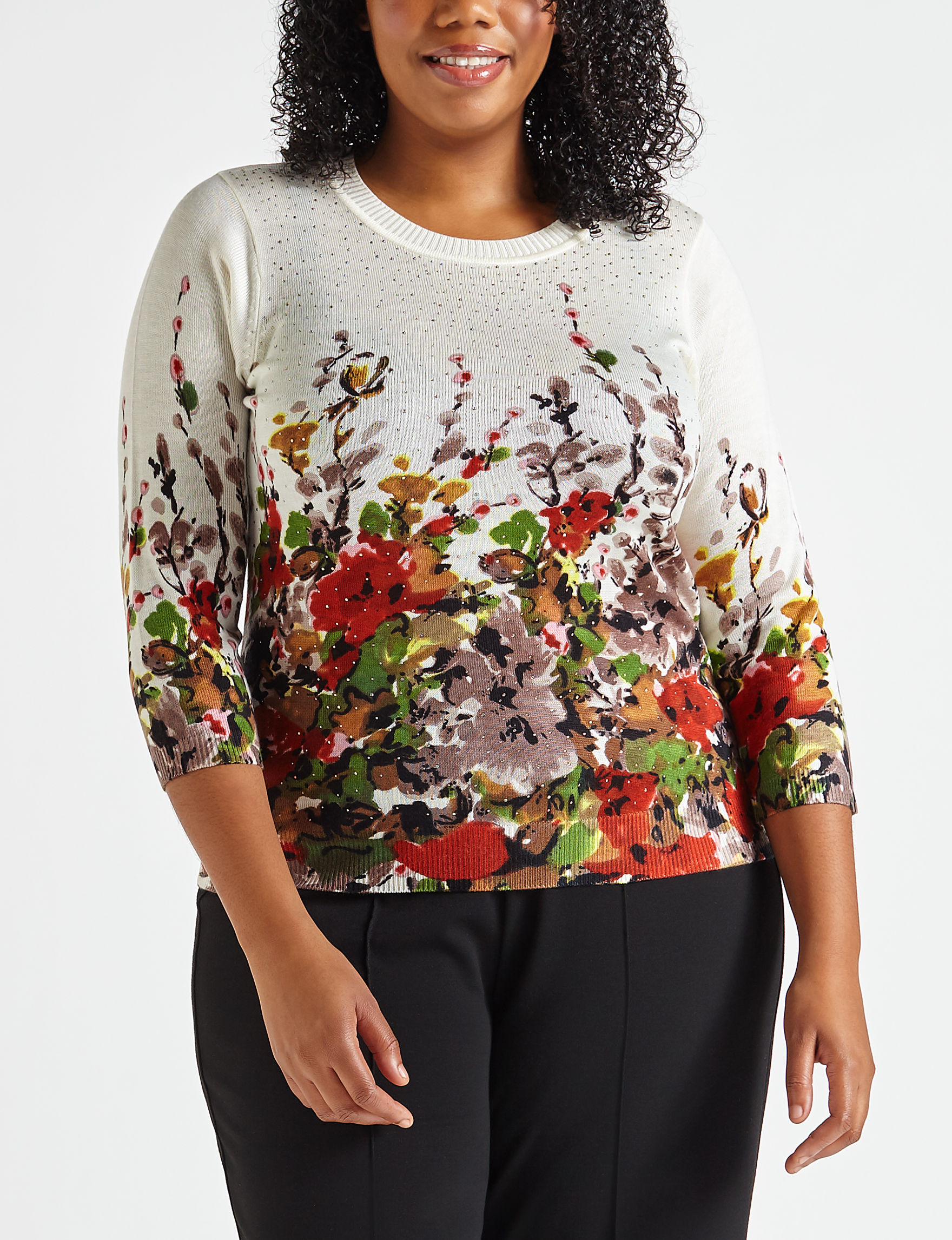 af2a2dddc33 Rebecca Malone Plus-size Floral Border Knit Sweater