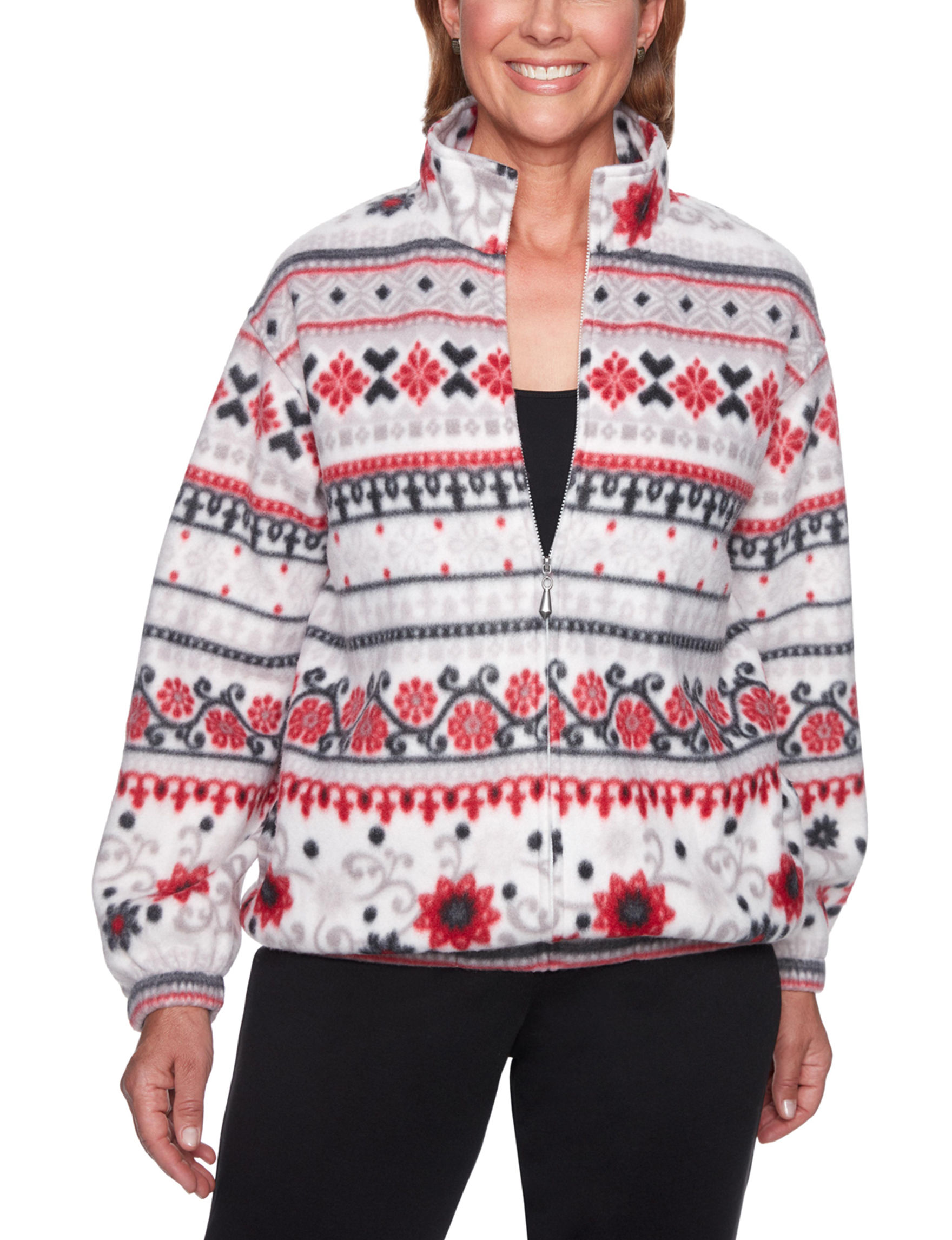 Alfred Dunner Red Multi Cardigans