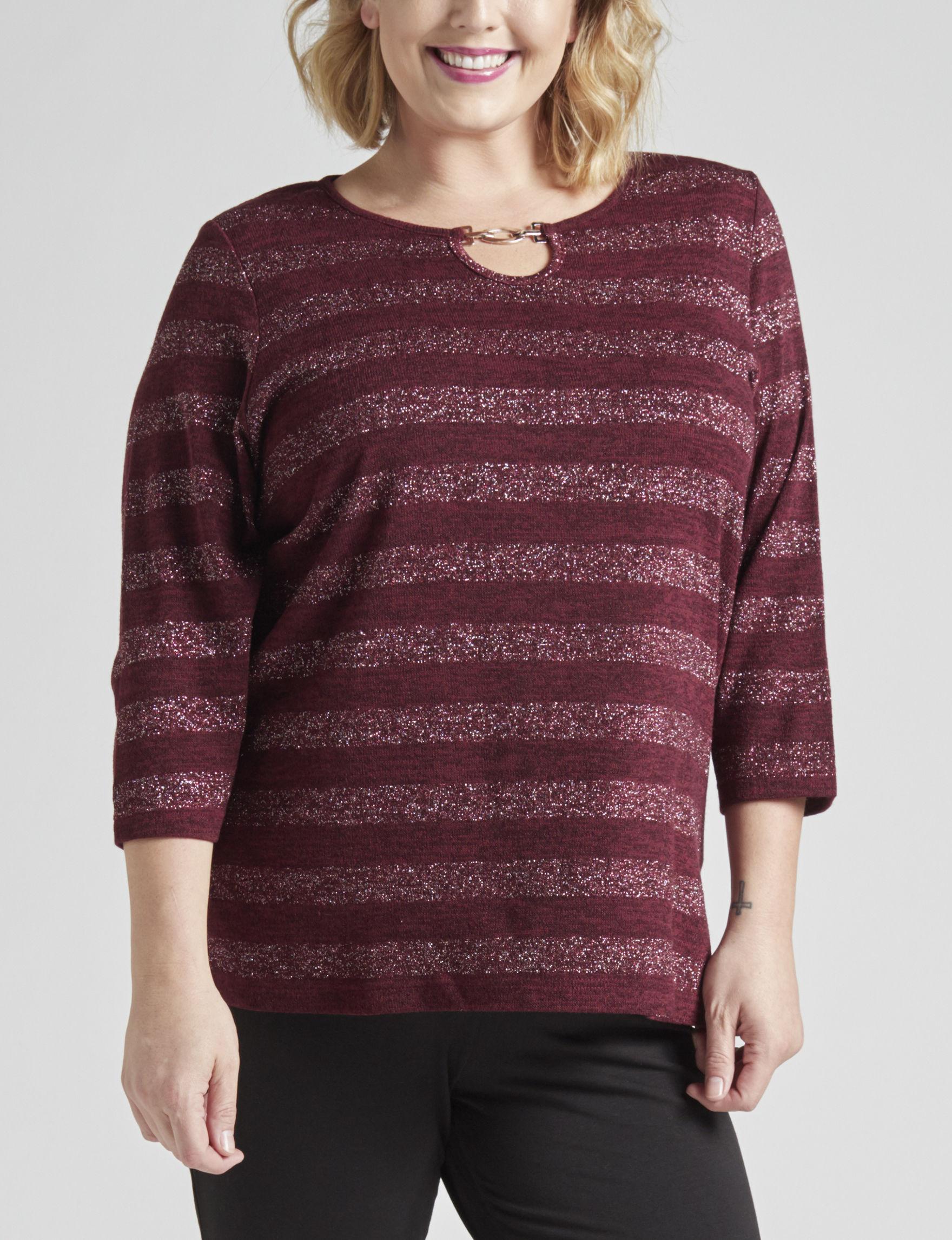 Cathy Daniels Burgundy Shirts & Blouses