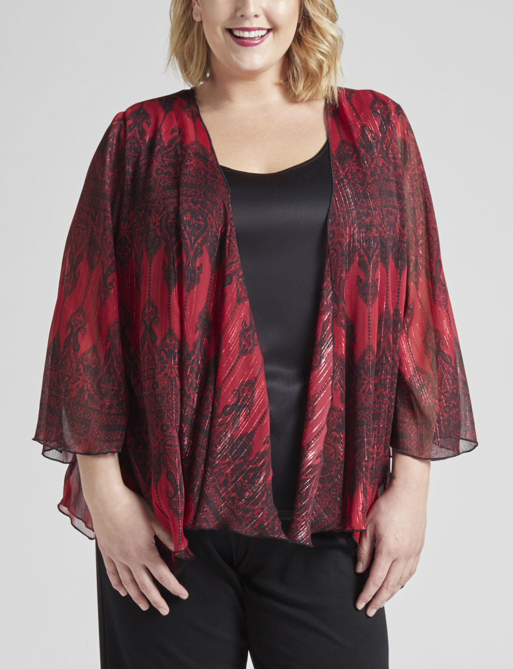 Sara Michelle Red / Black Shirts & Blouses