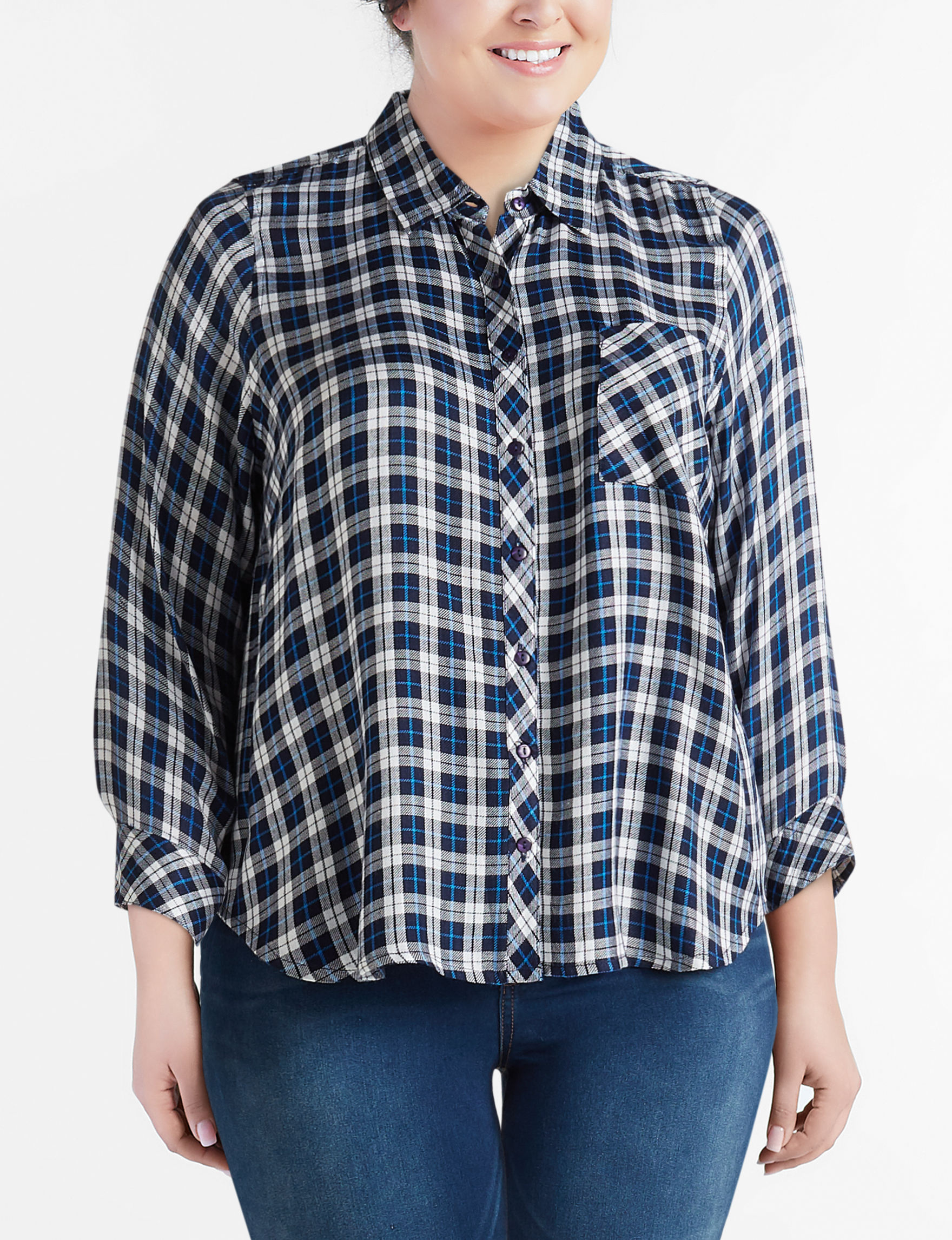 New Direction Blue Shirts & Blouses