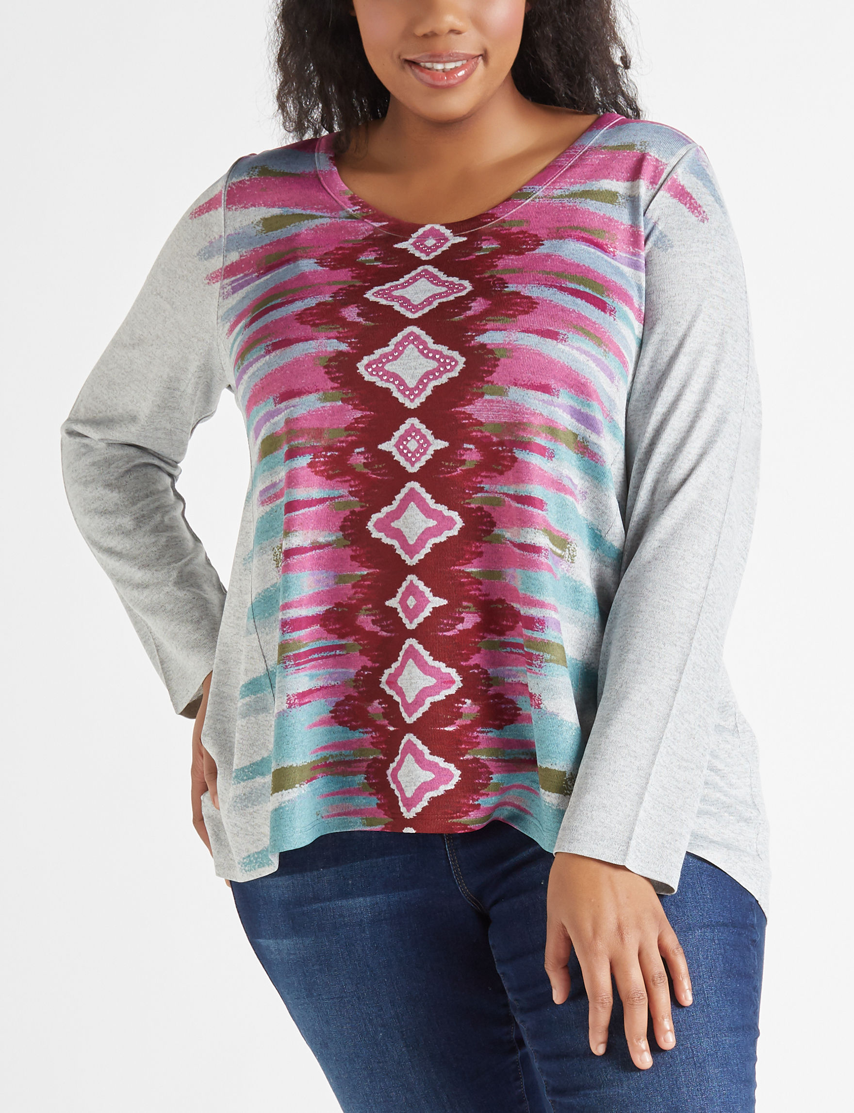 Latitude 10 Grey / Pink Shirts & Blouses