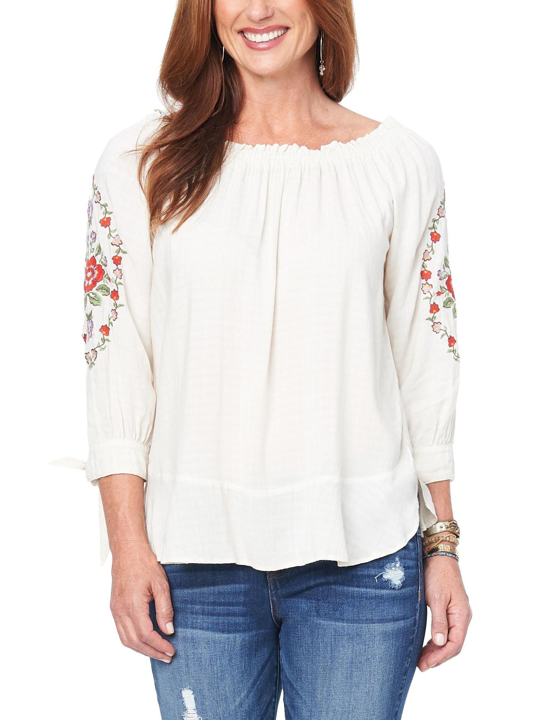 Democracy Cream Floral Shirts & Blouses