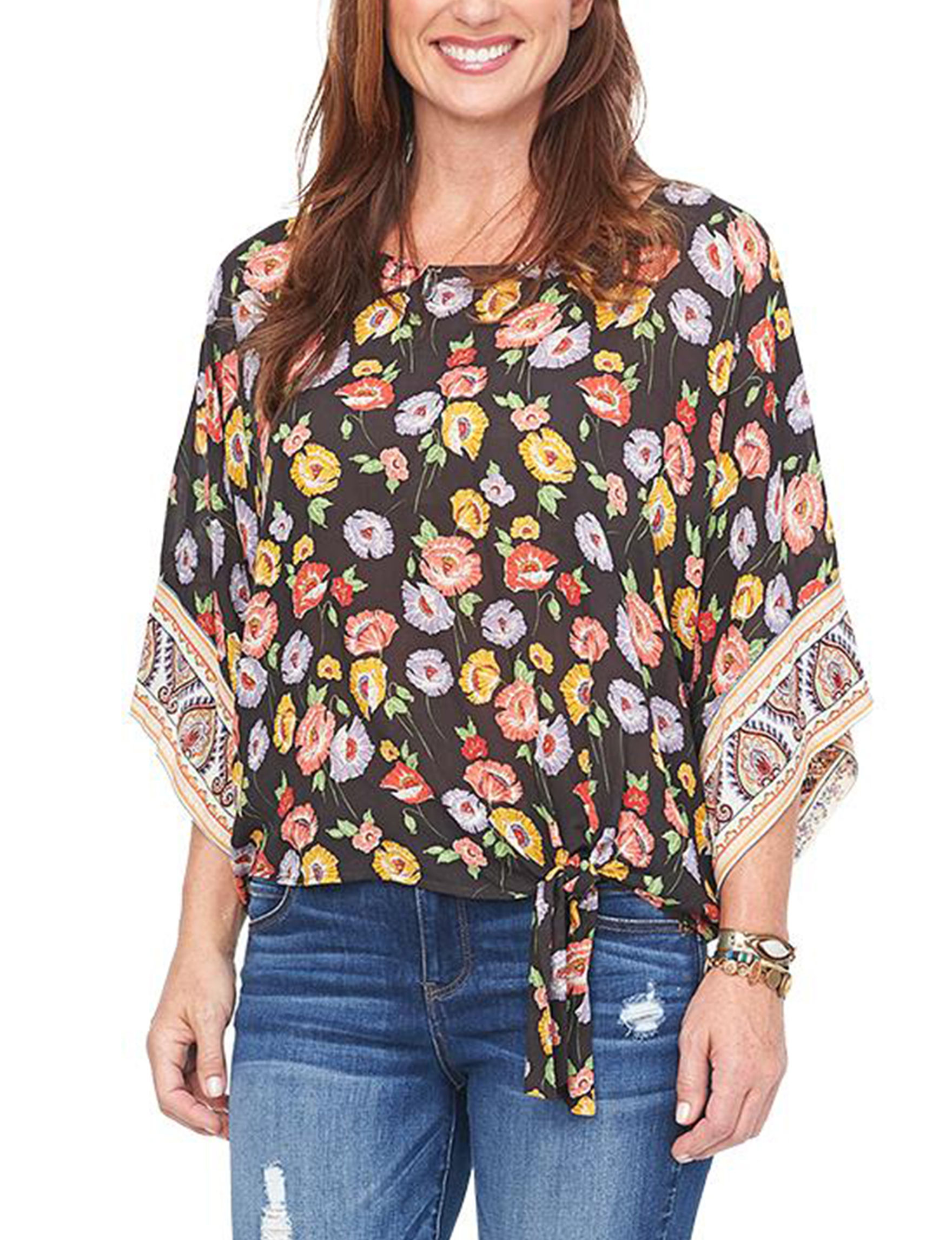 Democracy Dark Brown Floral Shirts & Blouses