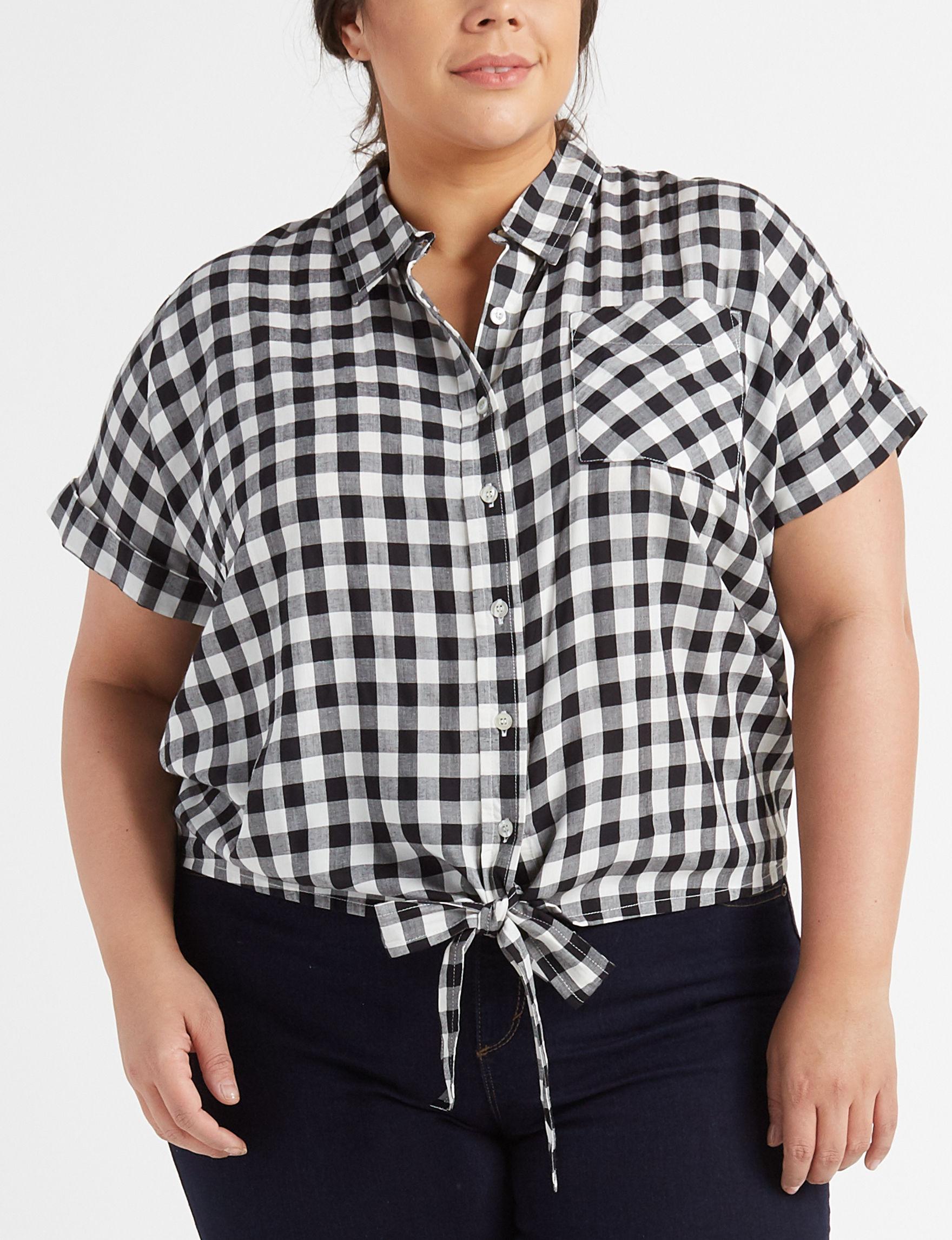 New Direction White / Black Shirts & Blouses