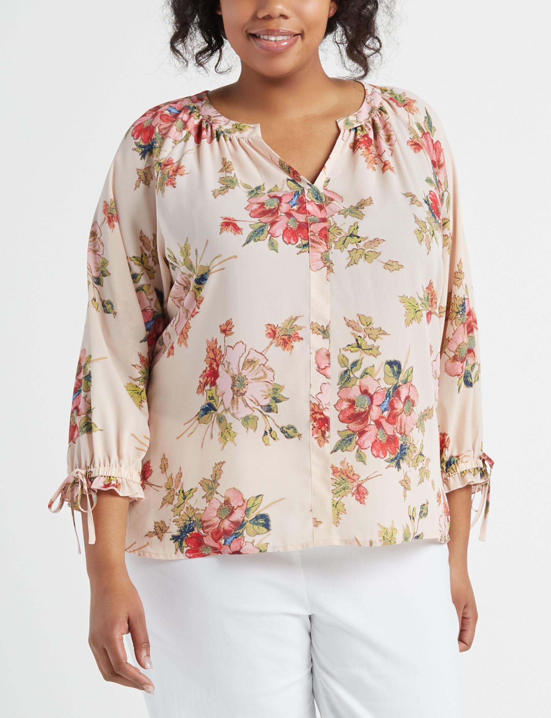 Zac & Rachel Pink Floral Shirts & Blouses