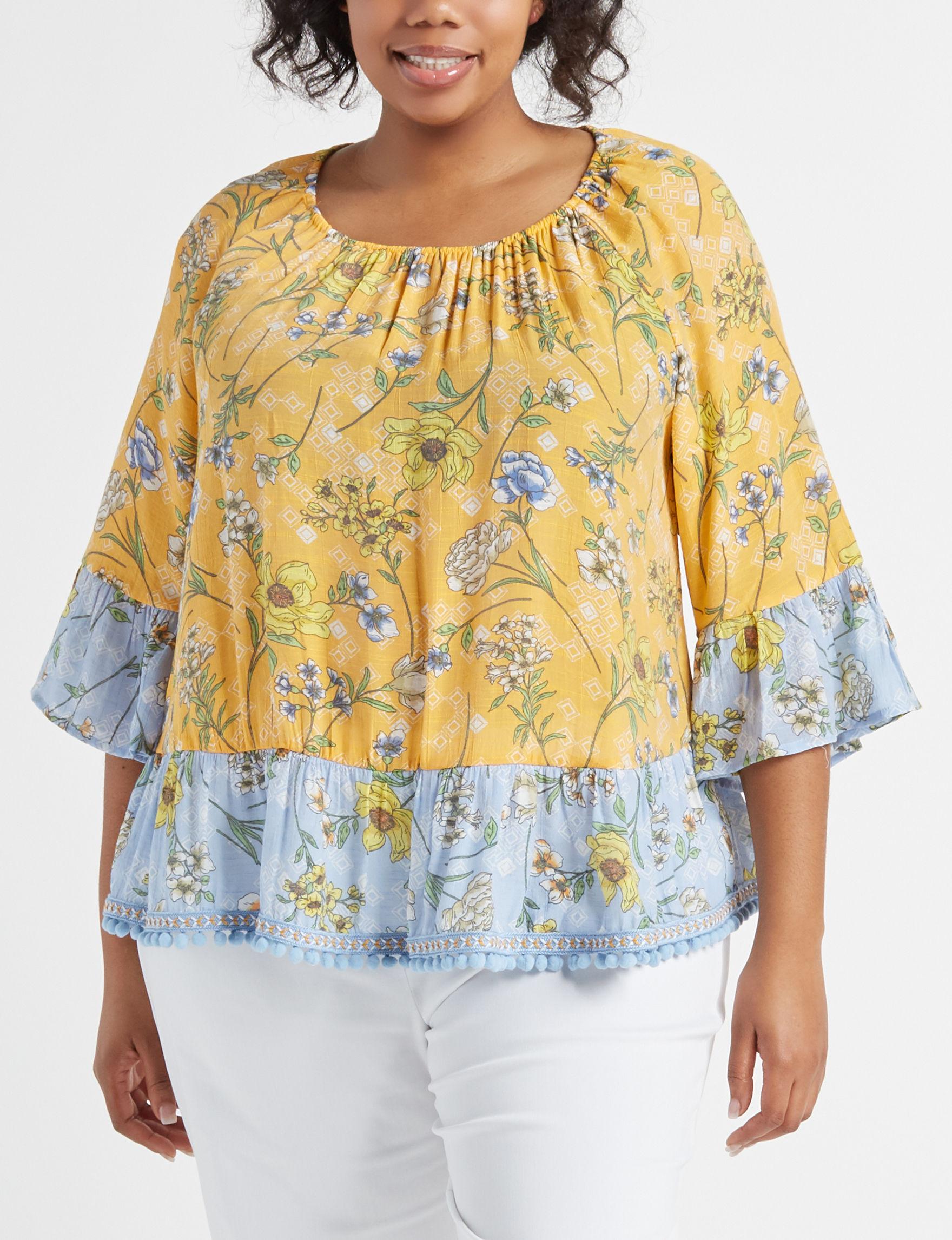 Zac & Rachel Yellow Floral Shirts & Blouses