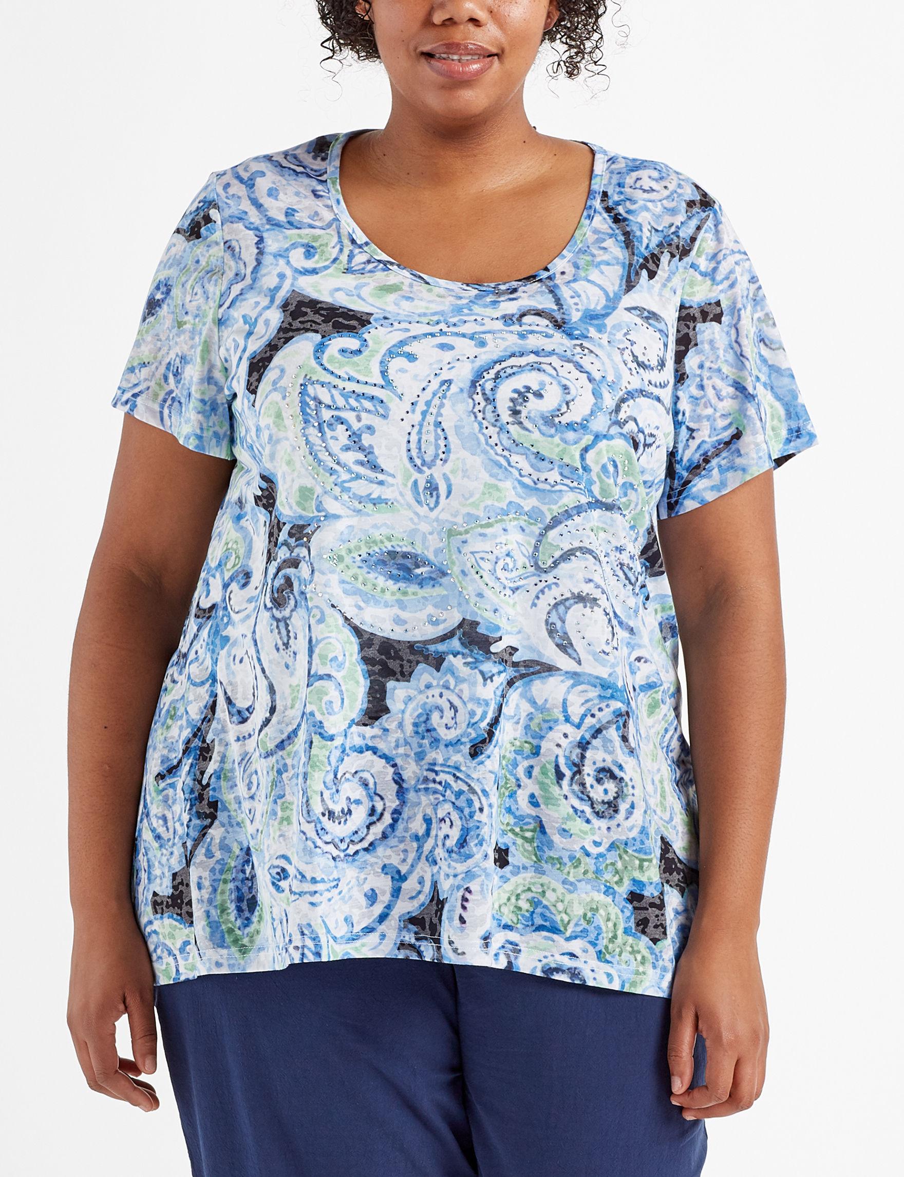 Rebecca Malone Blue Paisley Shirts & Blouses