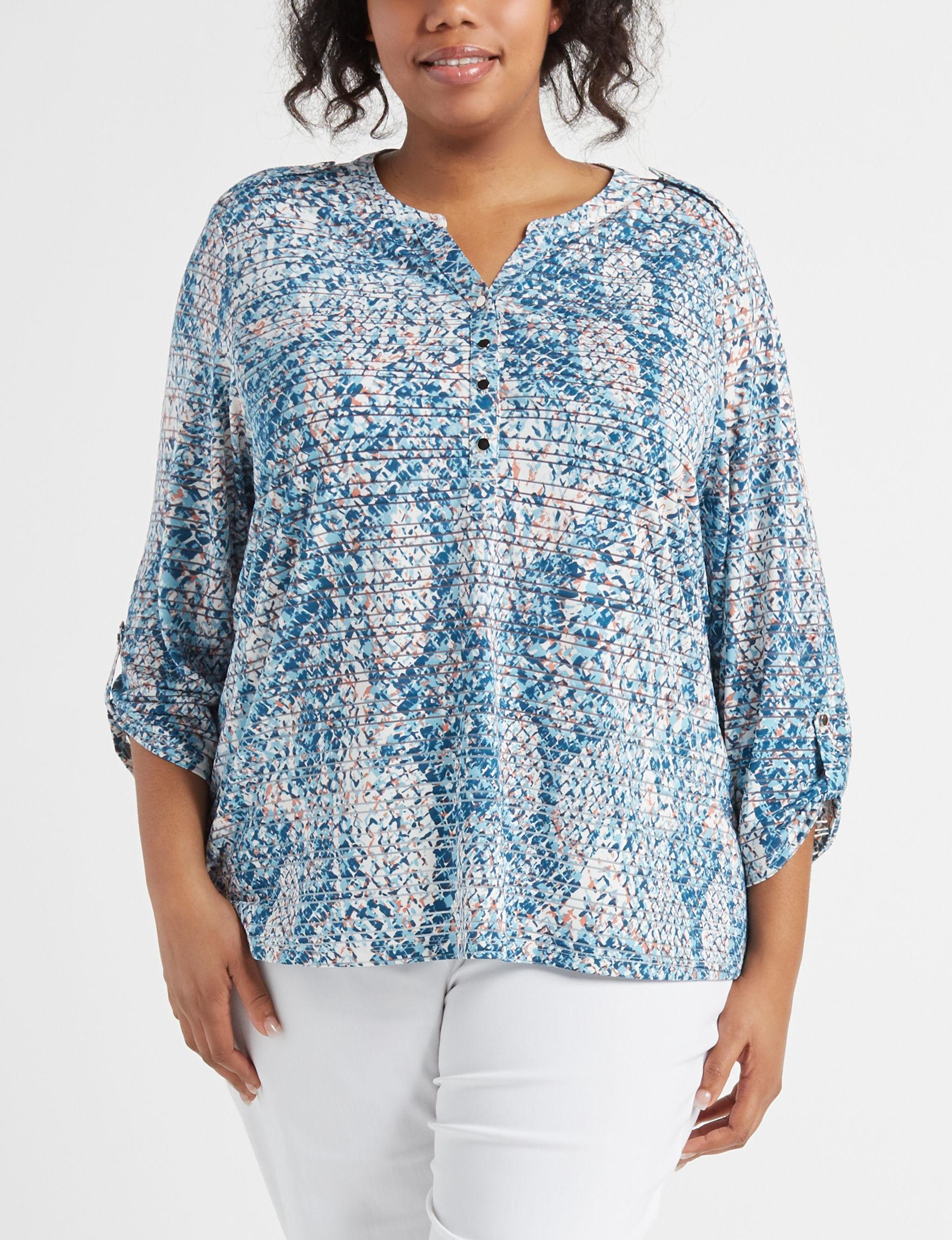 Rebecca Malone Teal / Multi Shirts & Blouses
